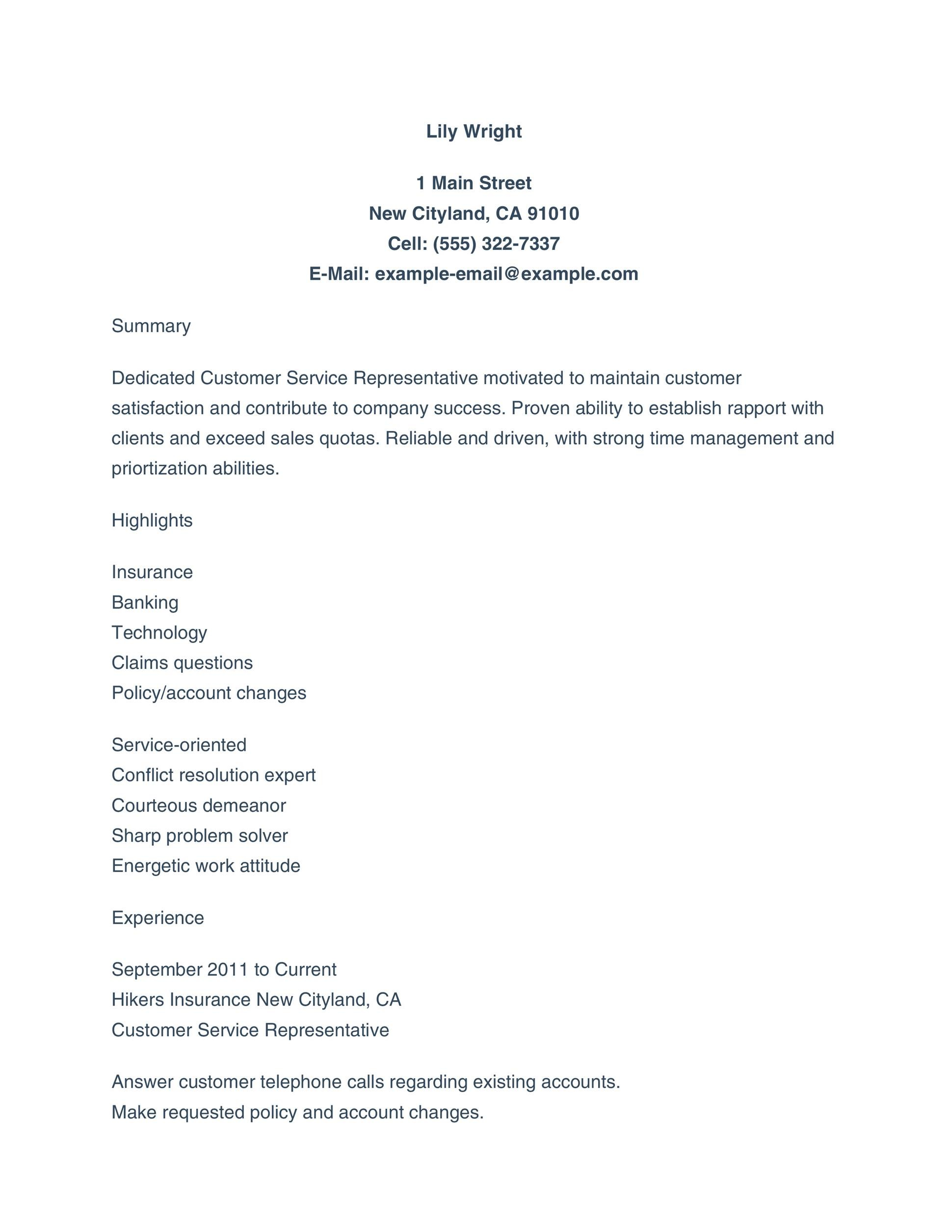 30 Customer Service Resume Examples ᐅ Templatelab