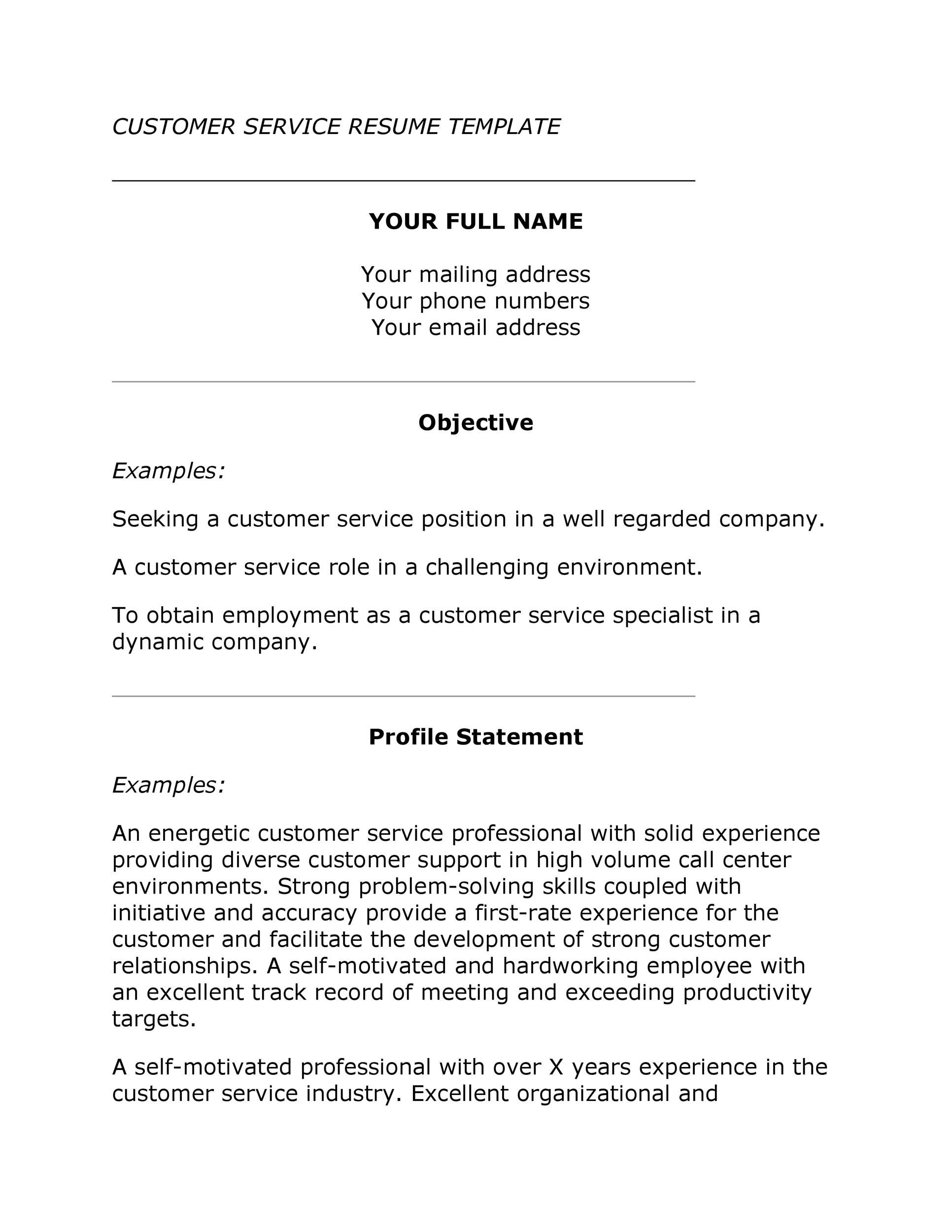 Free Customer Service Resume Template 06
