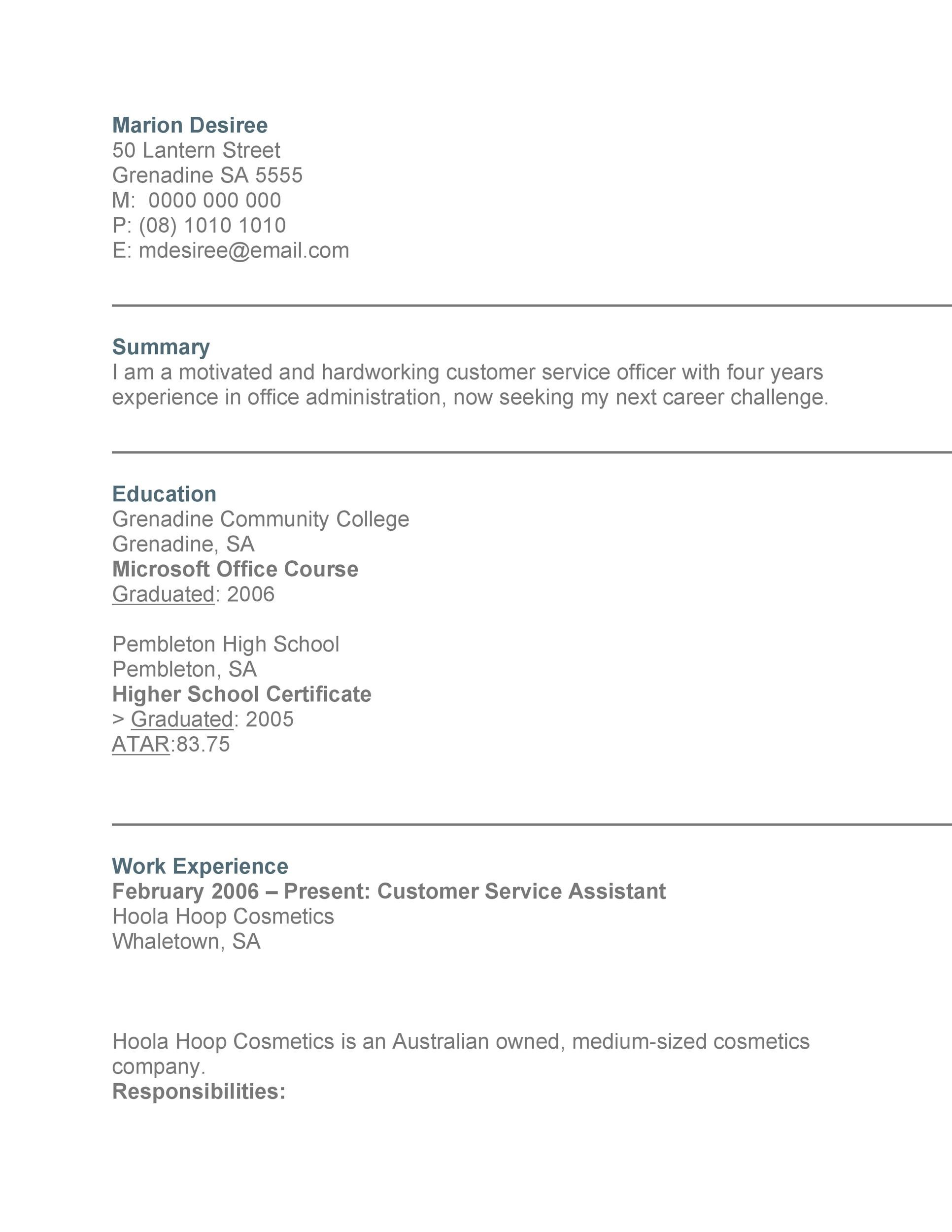 Free Customer Service Resume Template 07