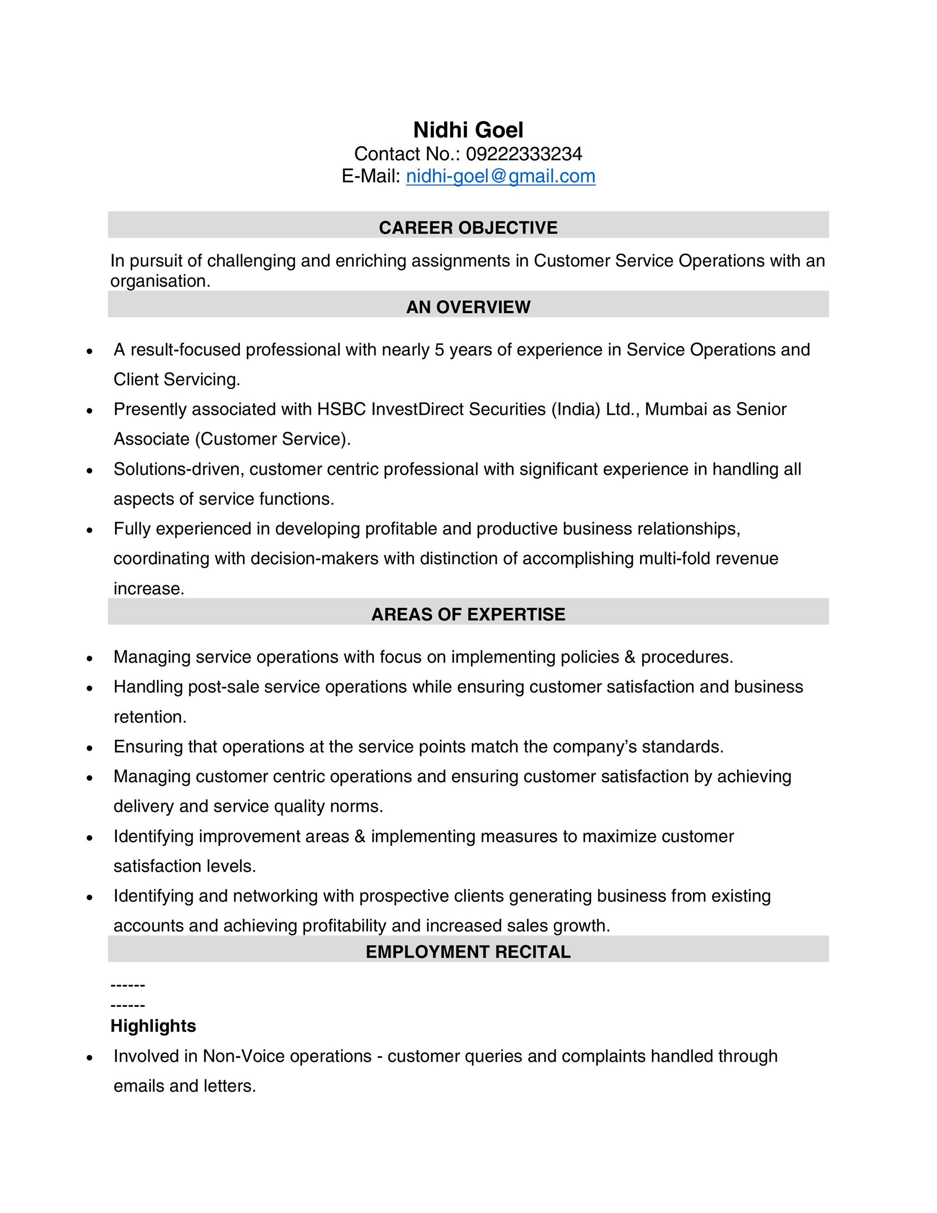 Free Customer Service Resume Template 09