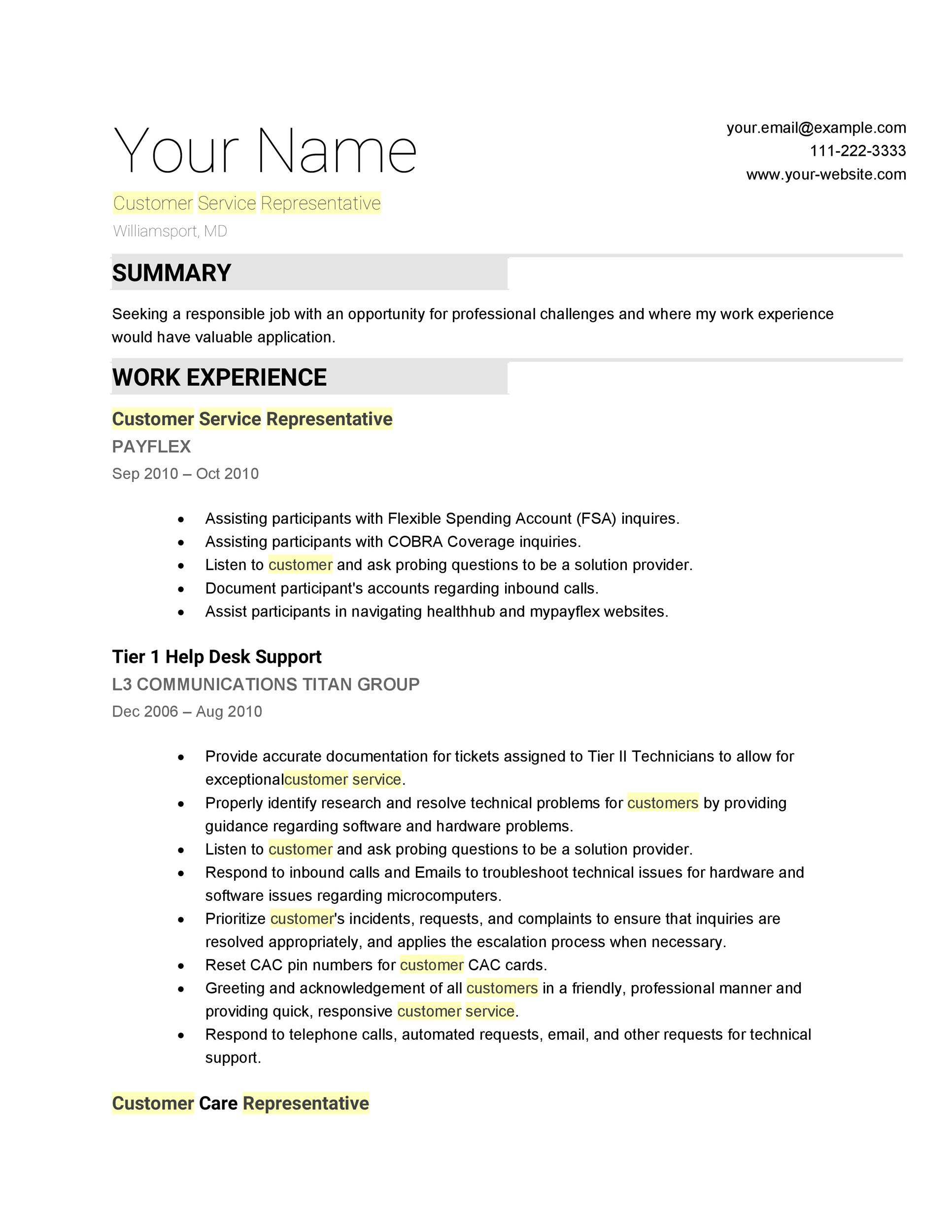 customer service resume templates - Customer Service Job Resume