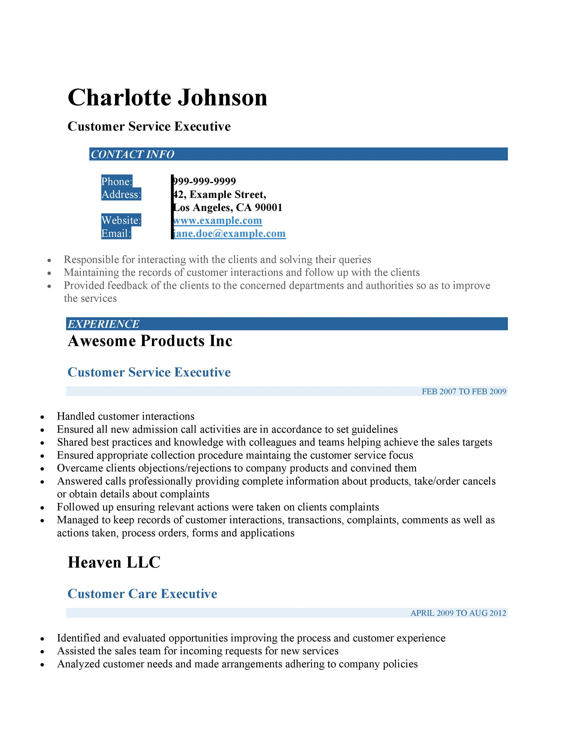 resume for customer service executive