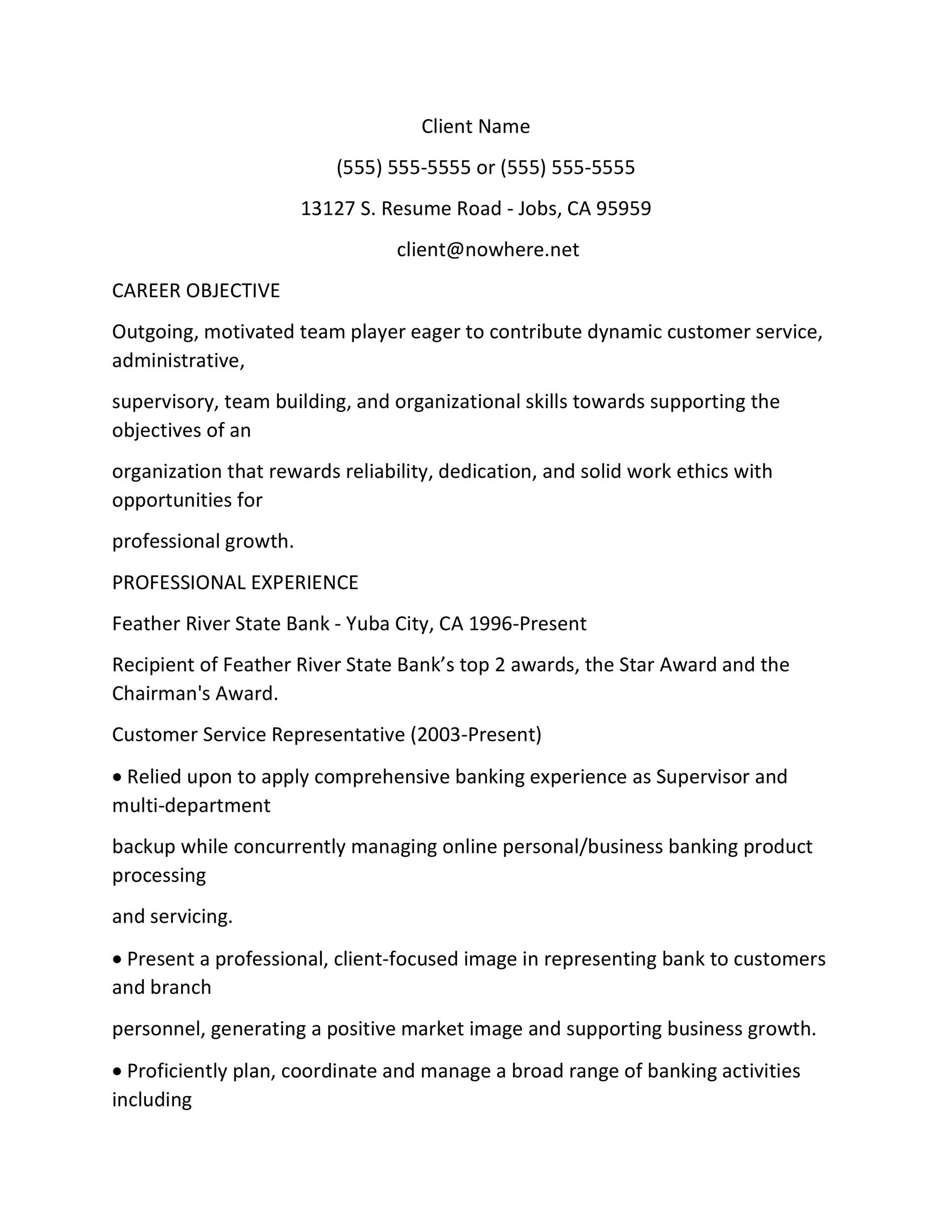 Free Customer Service Resume Template 12