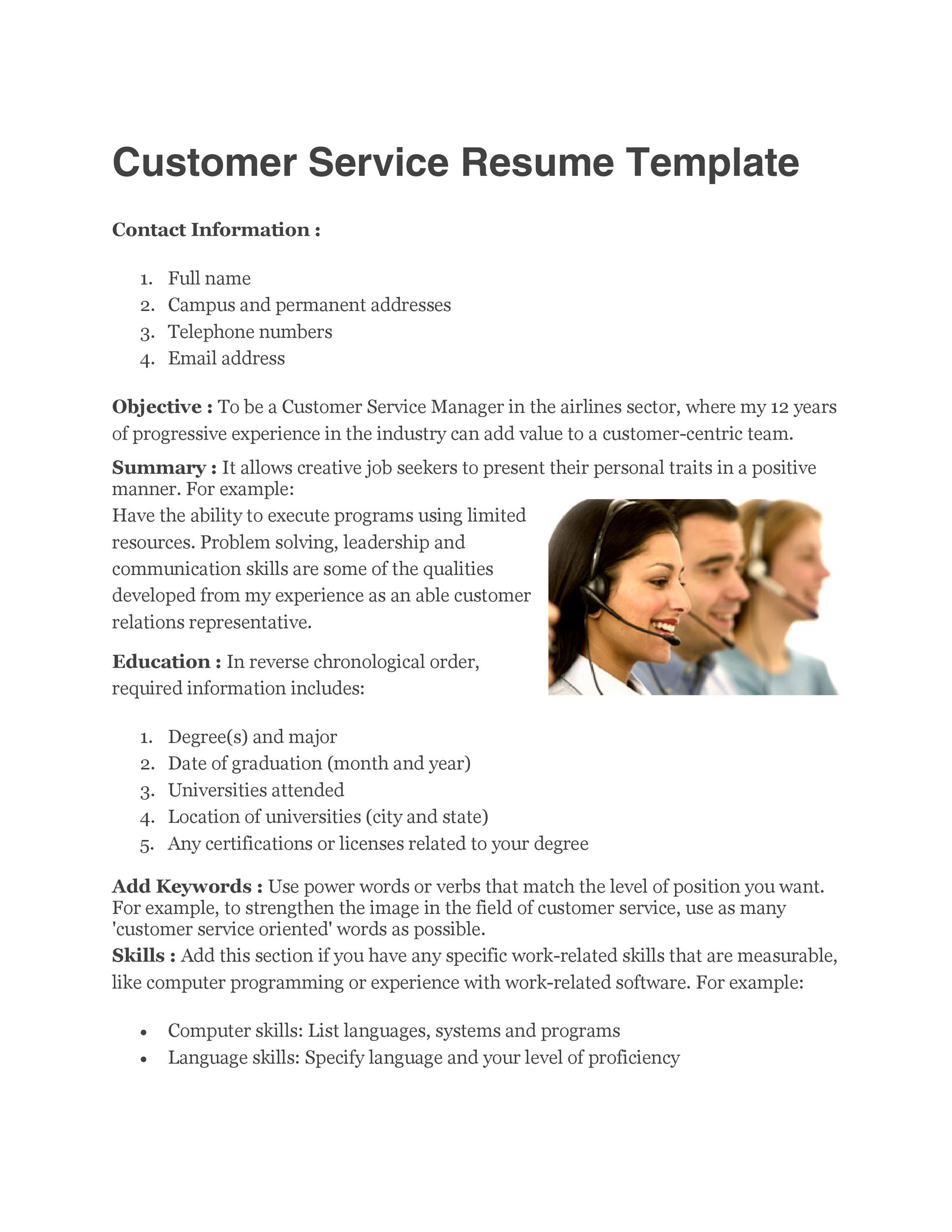 Printable Customer Service Resume Template 13  Customer Representative Resume