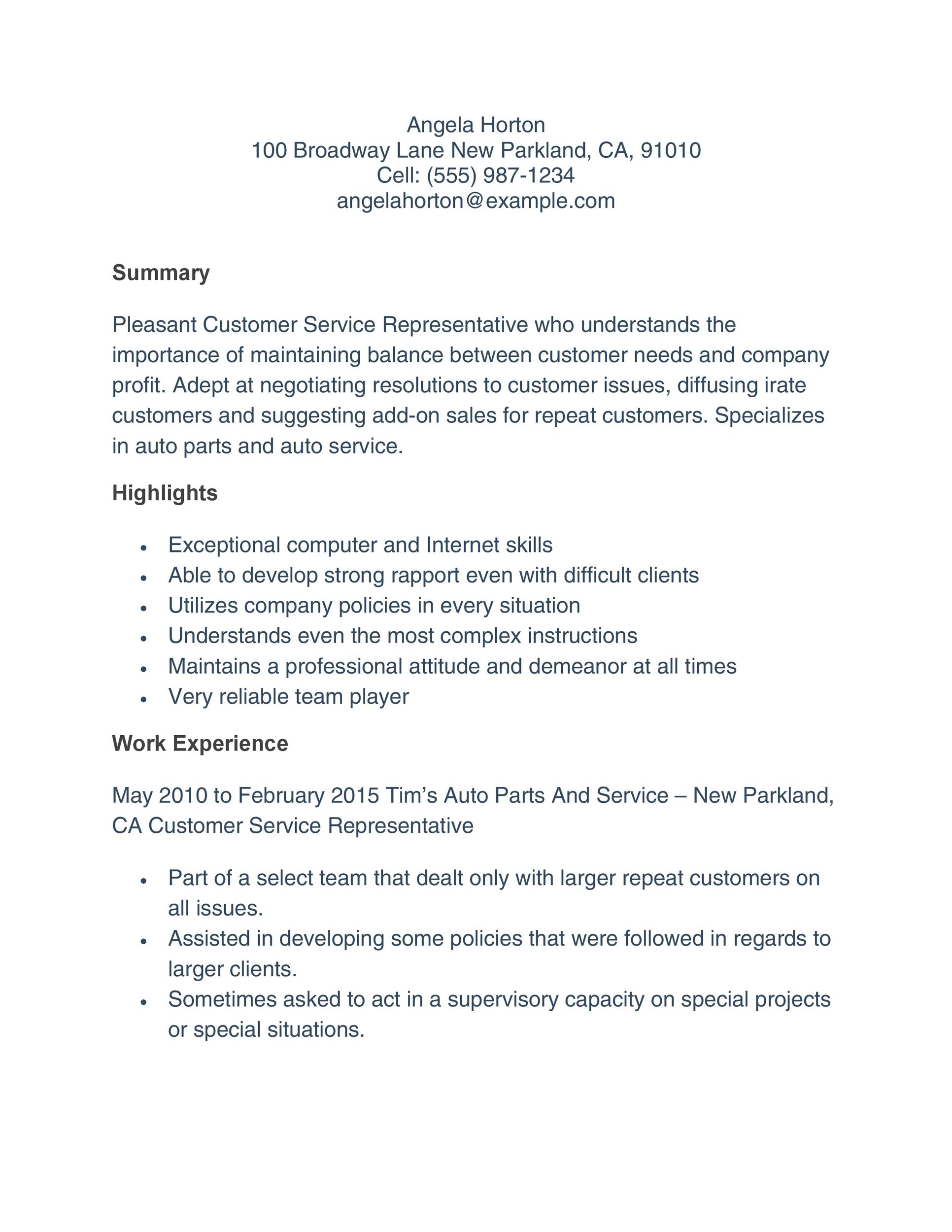 Free Customer Service Resume Template 15