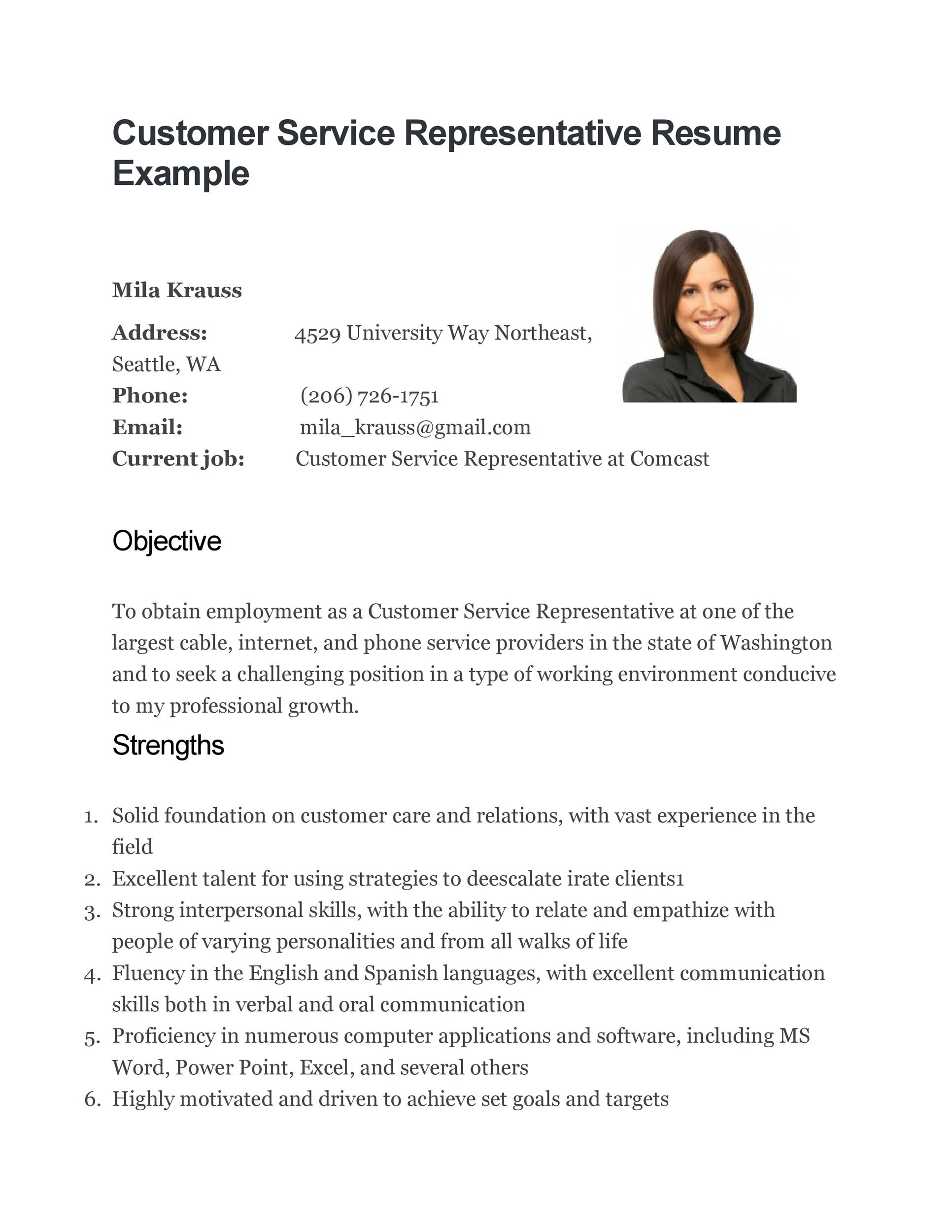 printable customer service resume template 16 - Sample Resume For Customer Service