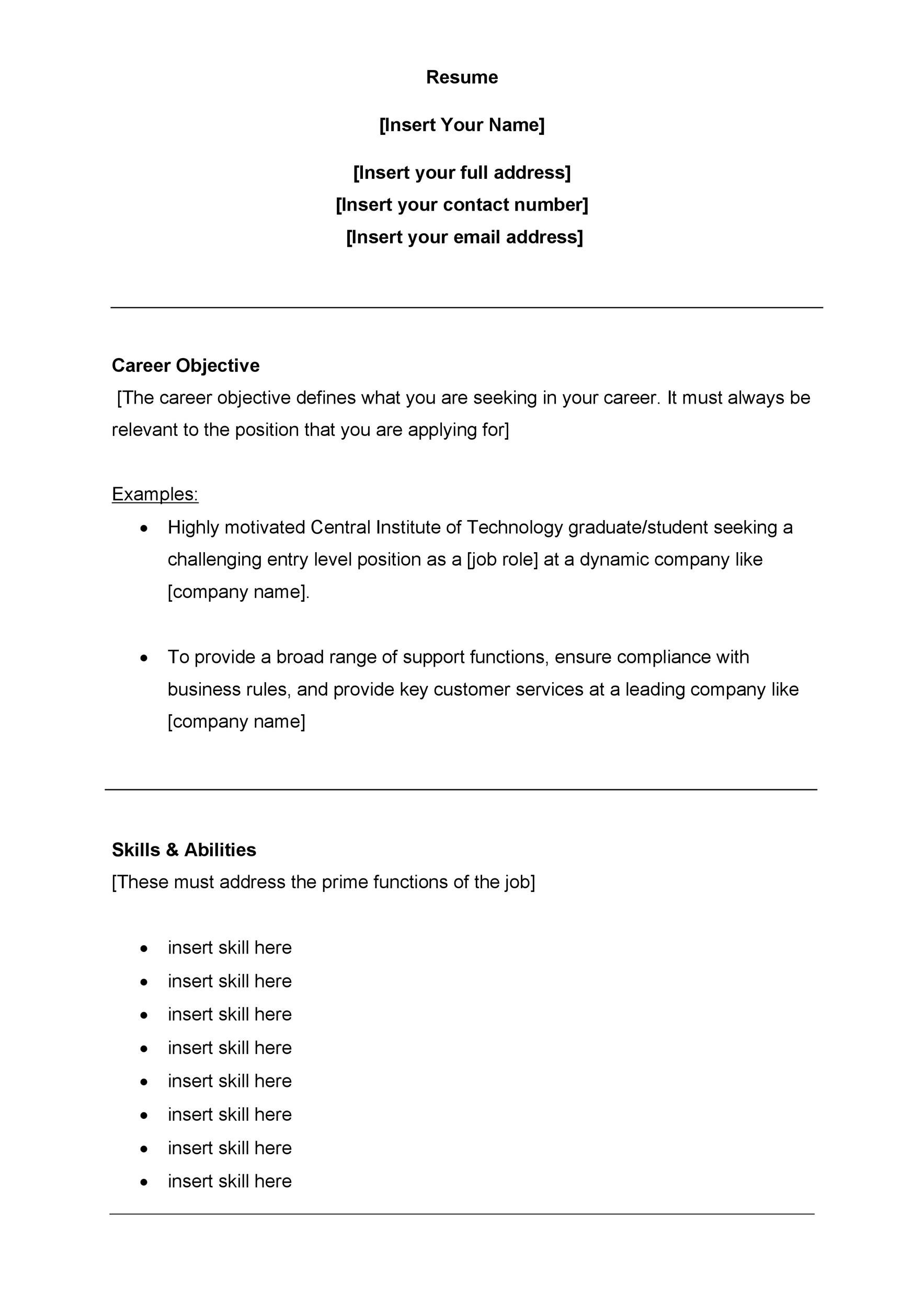 printable customer service resume template 19 - Business Resume Template