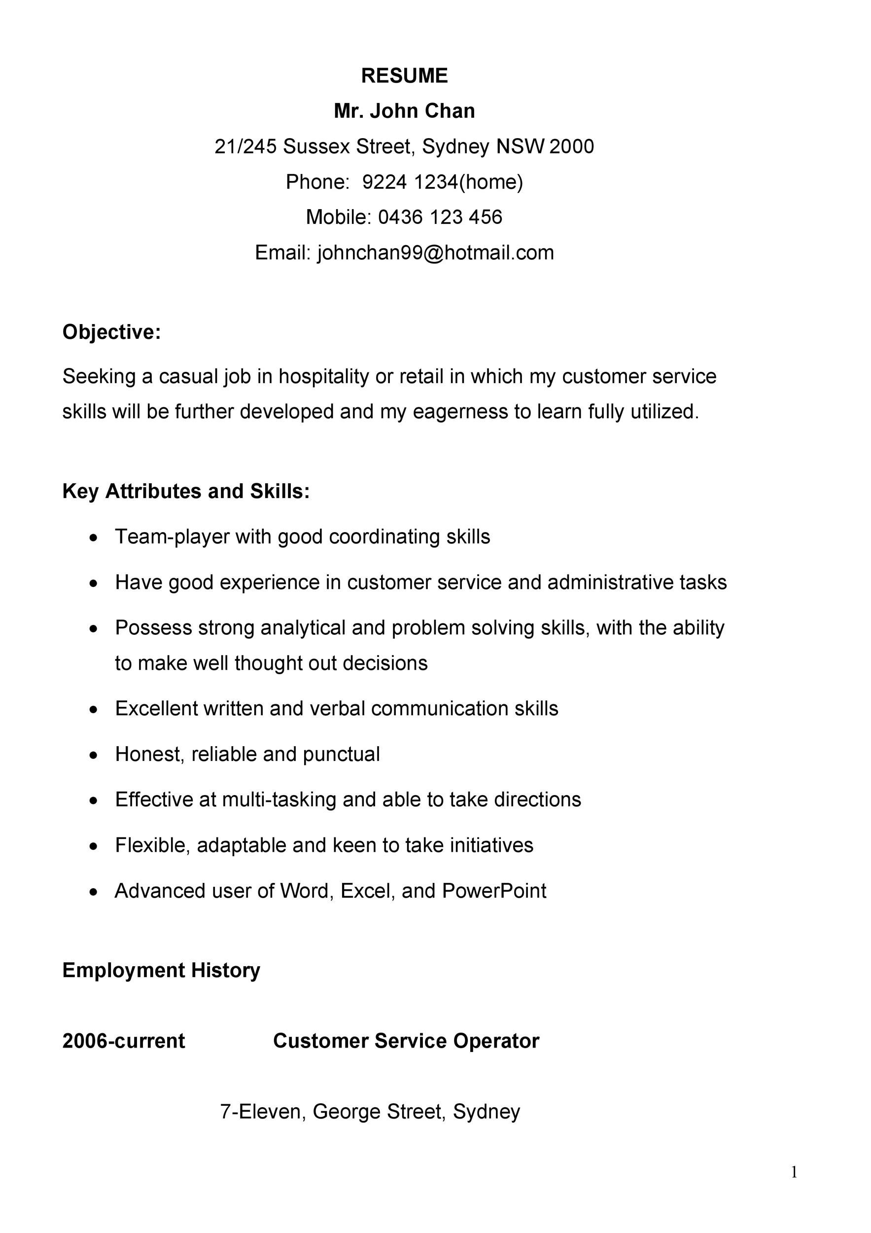 Free Customer Service Resume Template 21