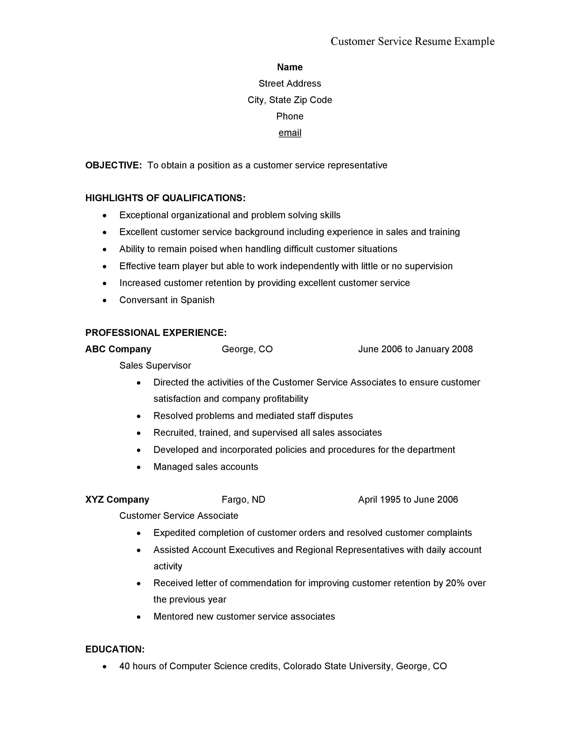 Free Customer Service Resume Template 22
