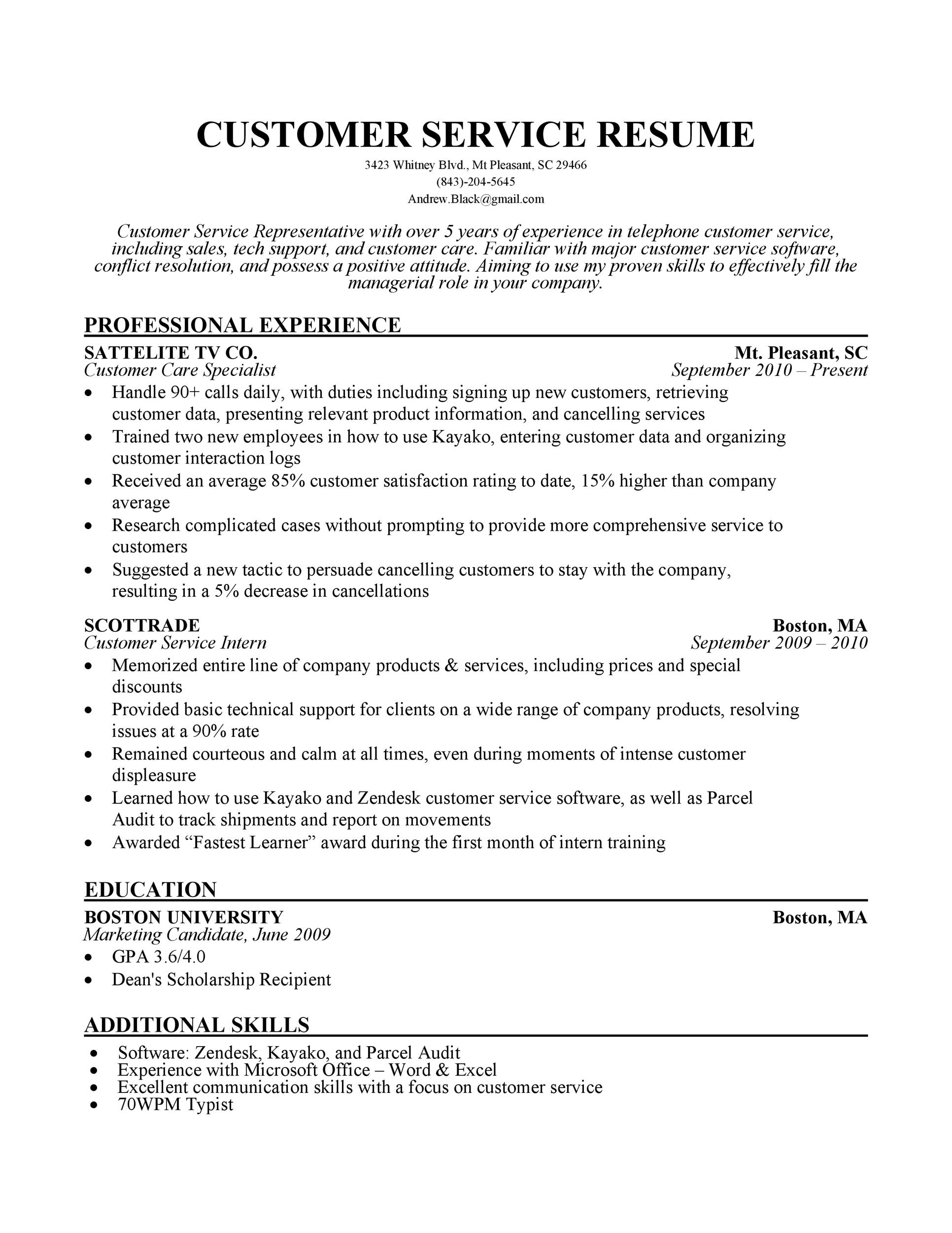 Free Customer Service Resume Template 25