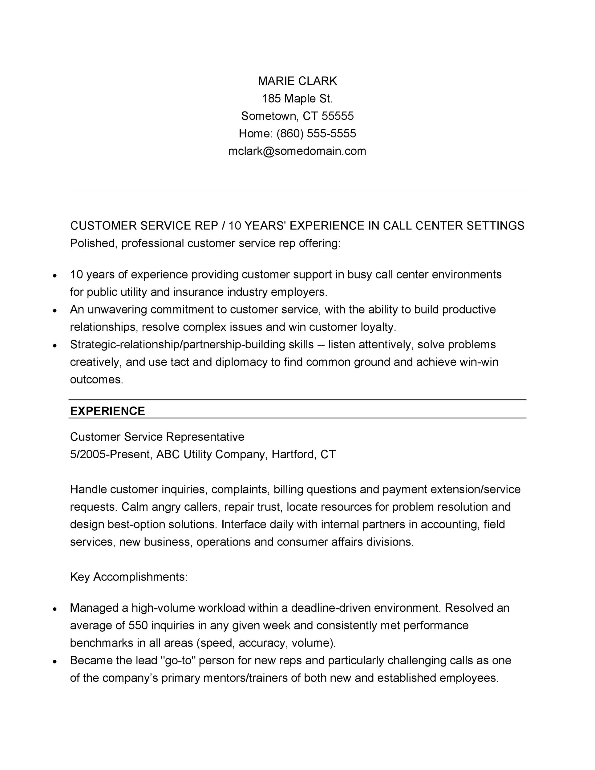 free customer service resume template 26 - Performance Resume Template