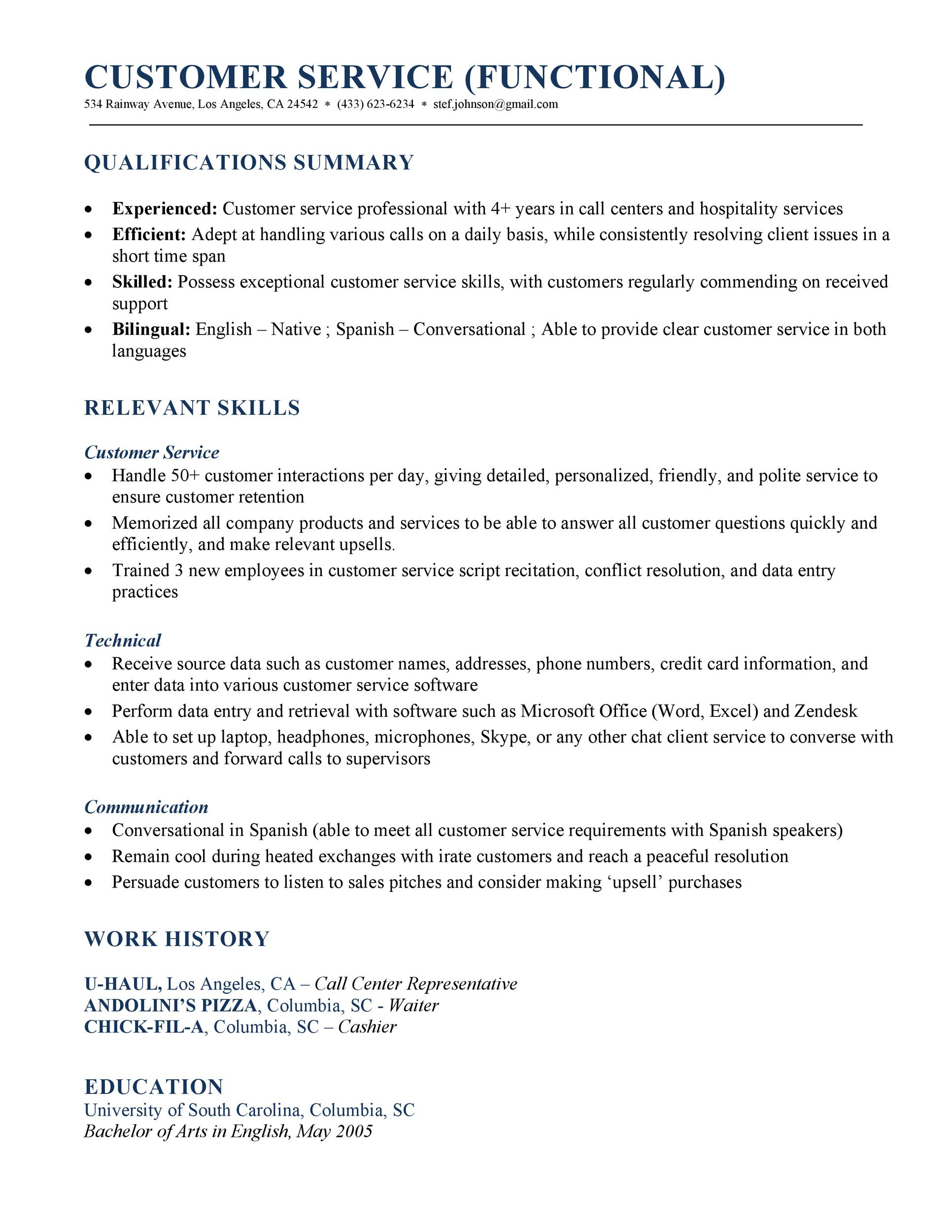 30  customer service resume examples