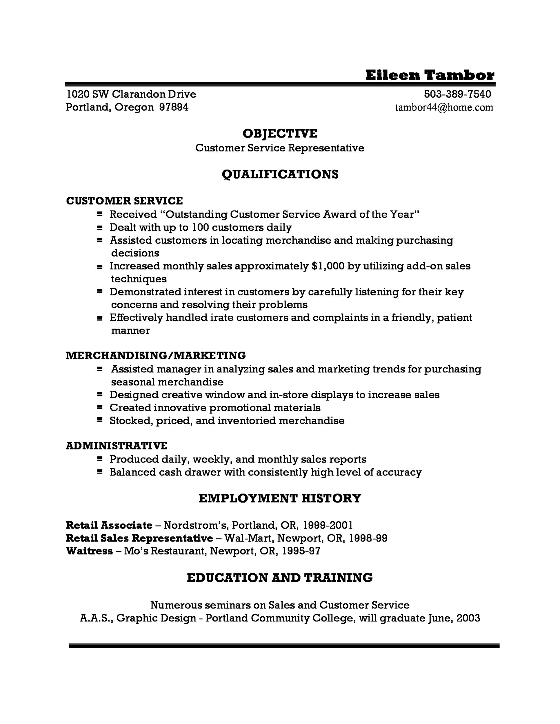 Printable Customer Service Resume Template 29  Objective For Customer Service Resume