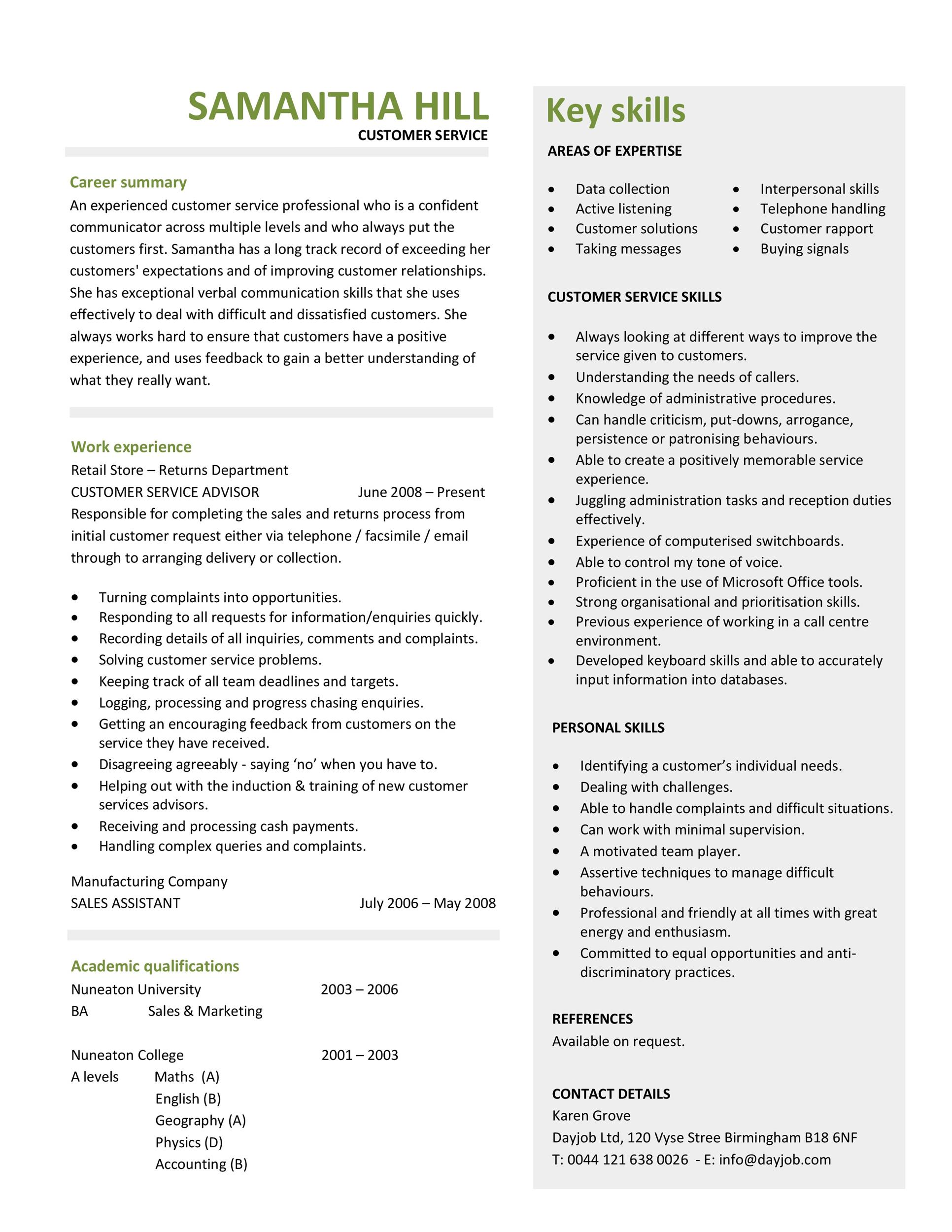 Printable Customer Service Resume Template 31  Customer Service Resume Skills