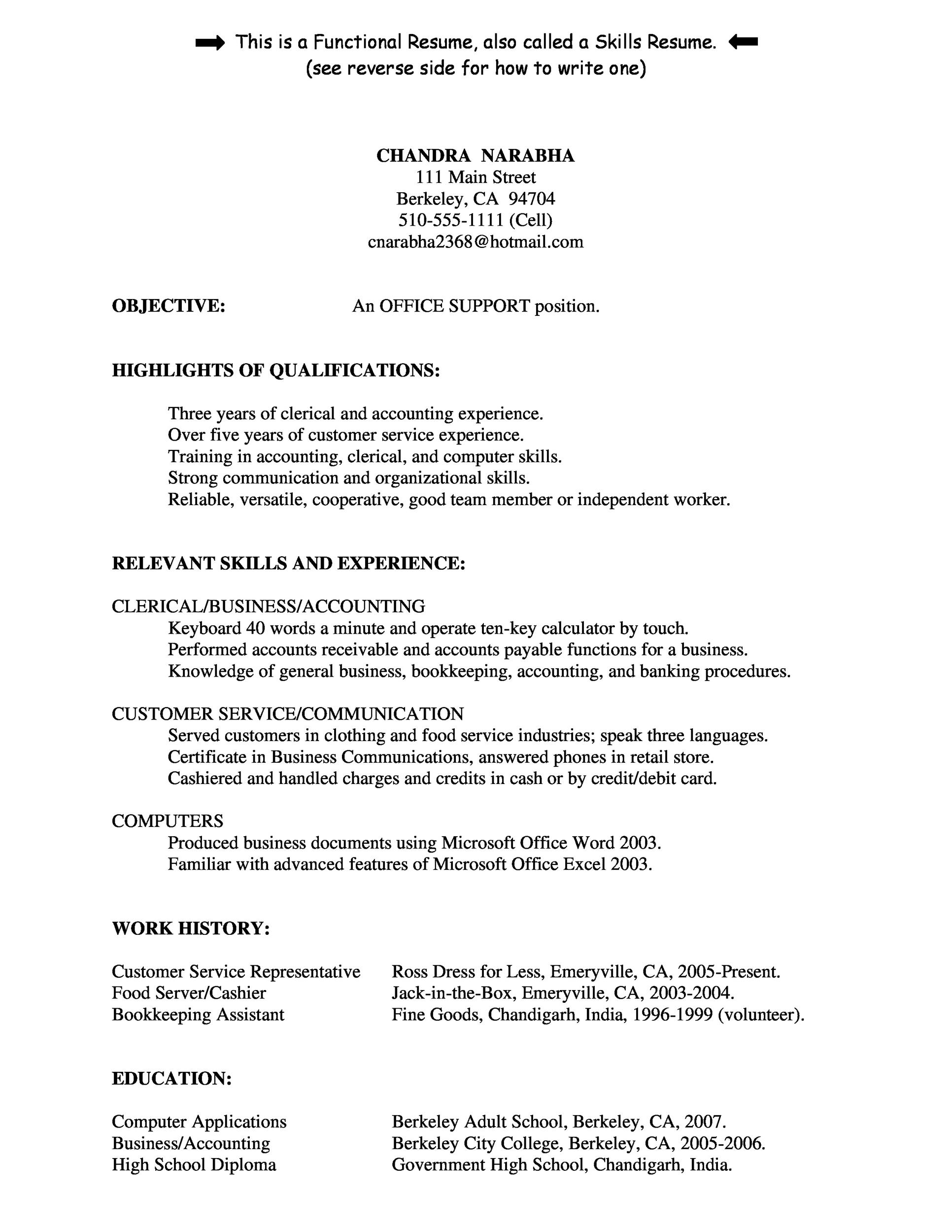 free customer service resume template 34 - Resume Highlights