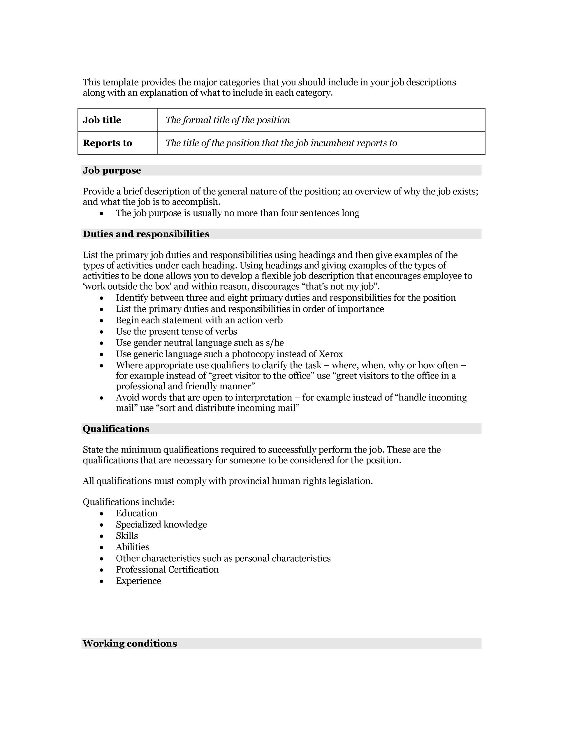 Job descriptions template job description template for Creating job descriptions template