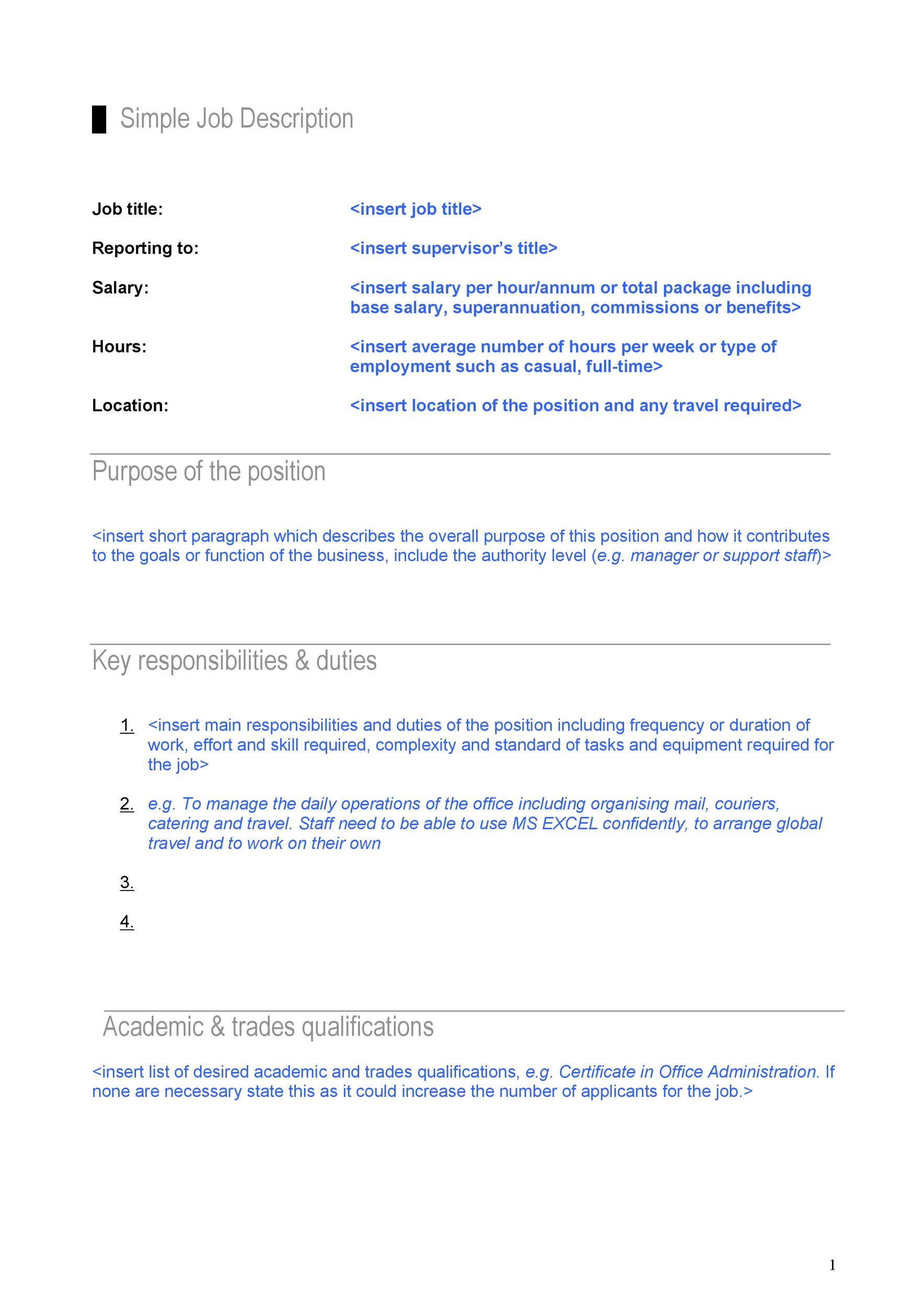 office junior job description template - job description format template