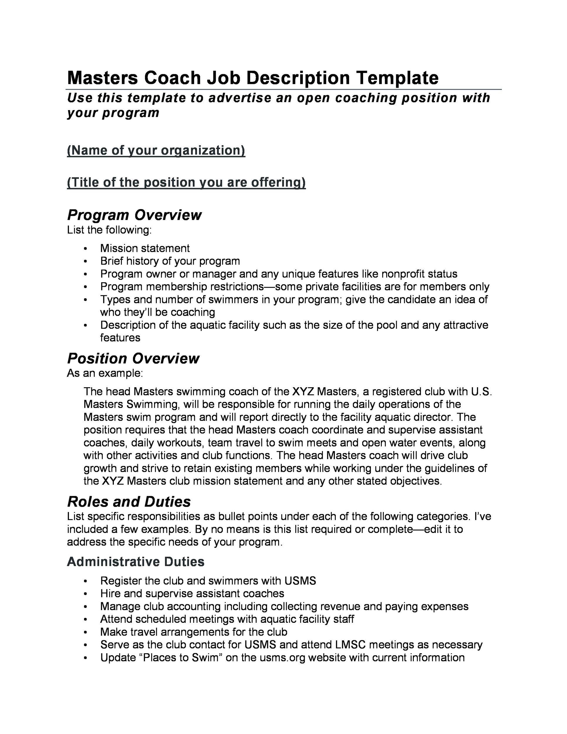 job duties checklist template