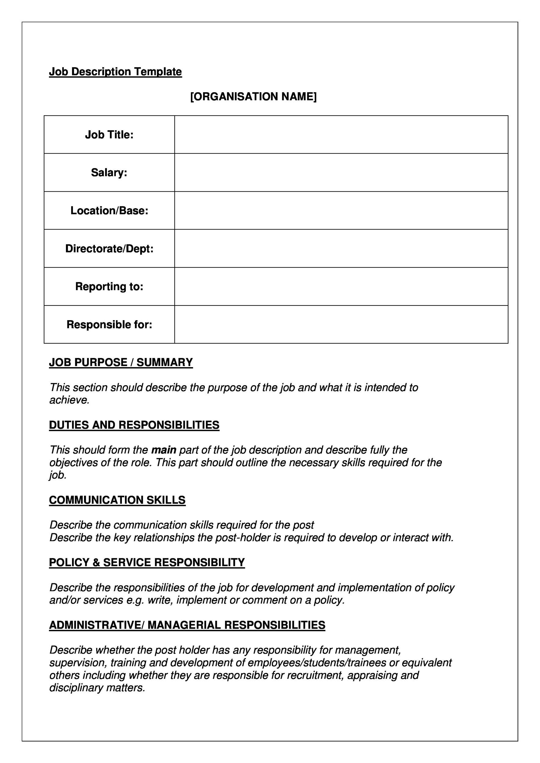Free Job Description Template 09