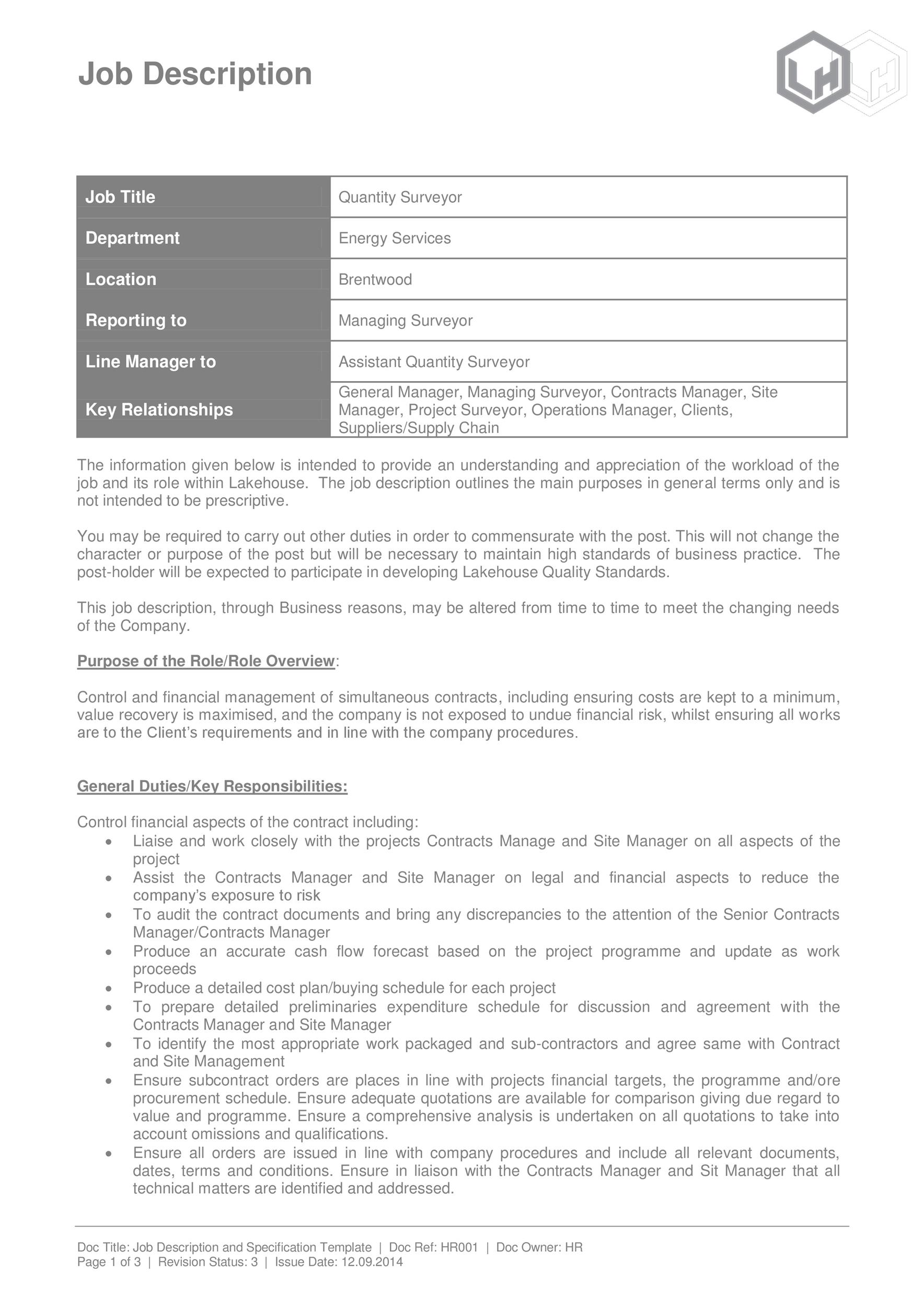 Free Job Description Template 13