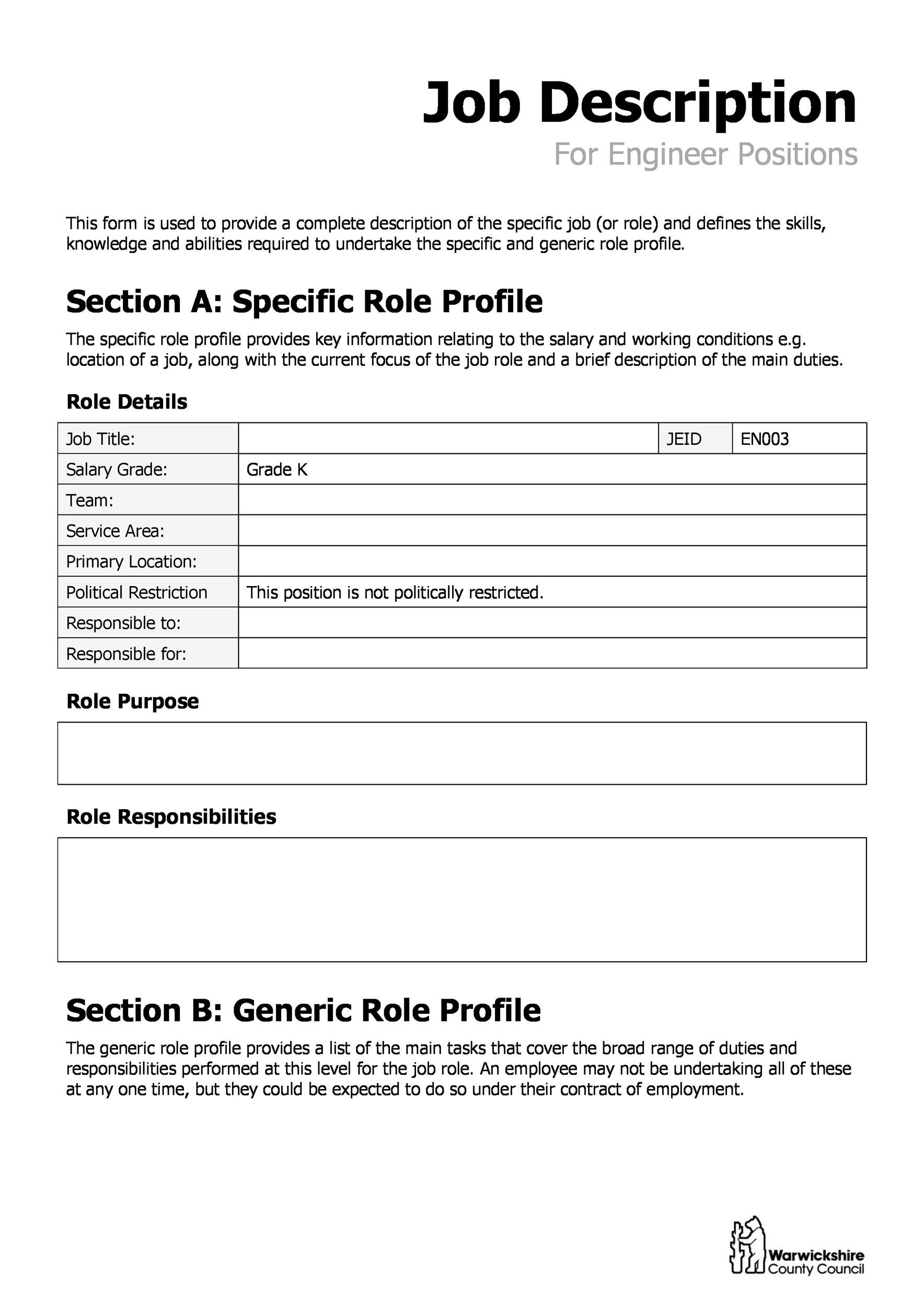 Free Job Description Template 15
