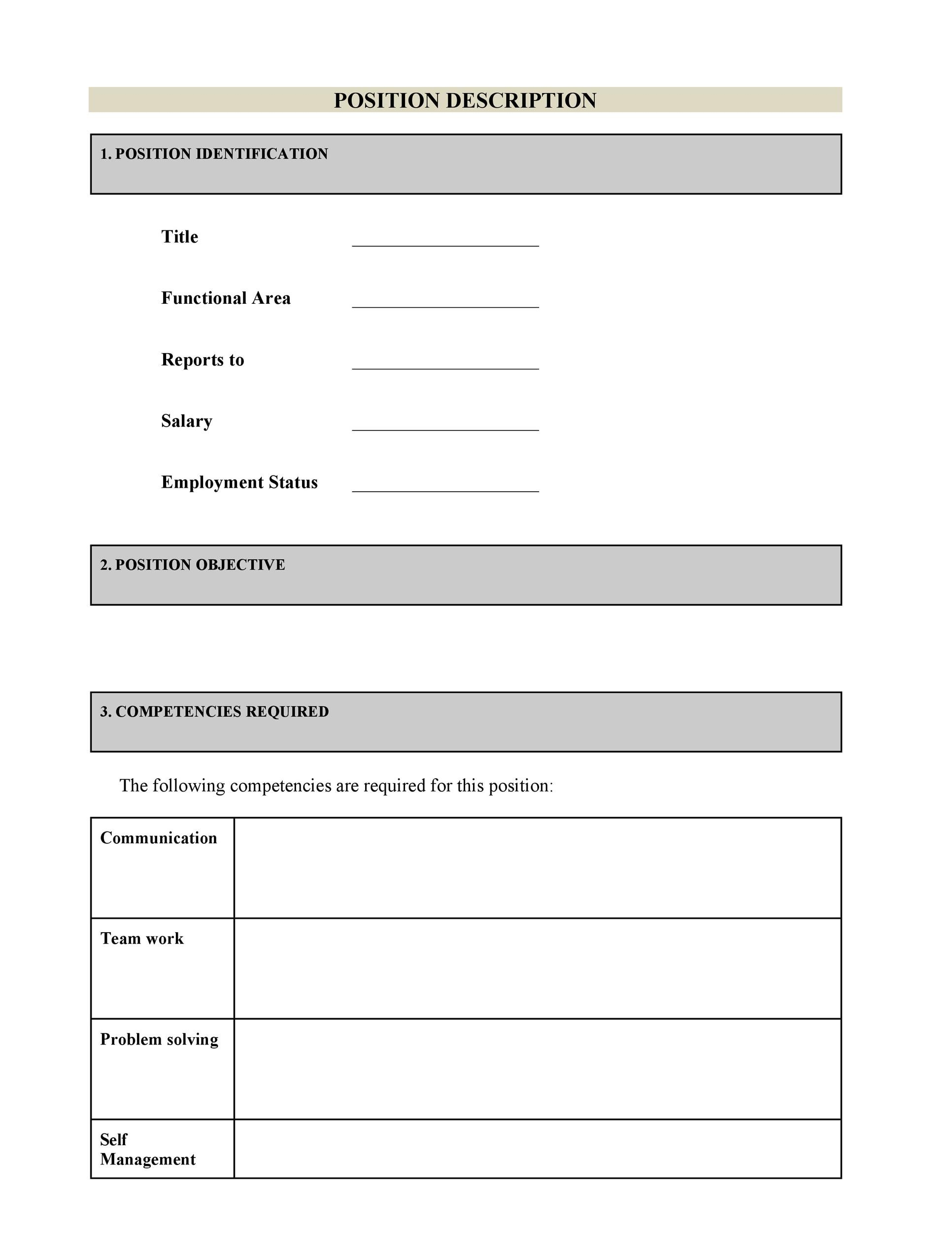 Job Description Template 18