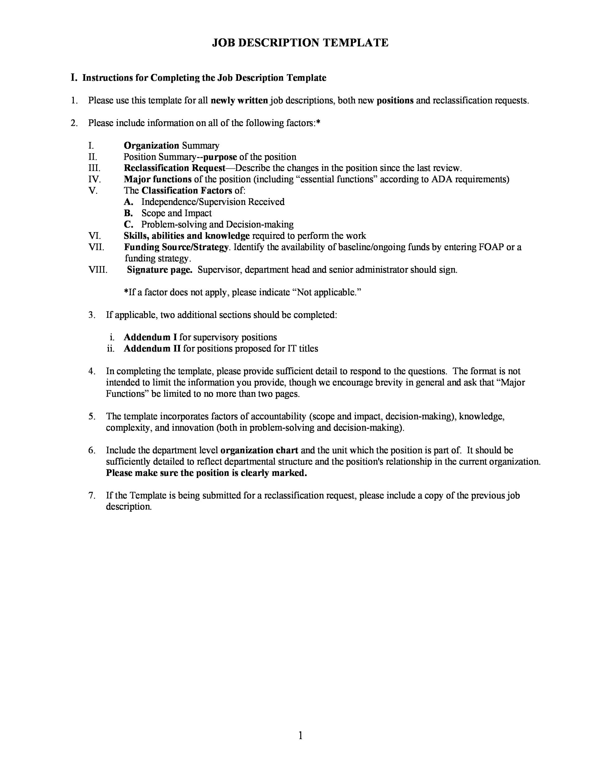 bio questionnaire template - 47 job description templates examples template lab