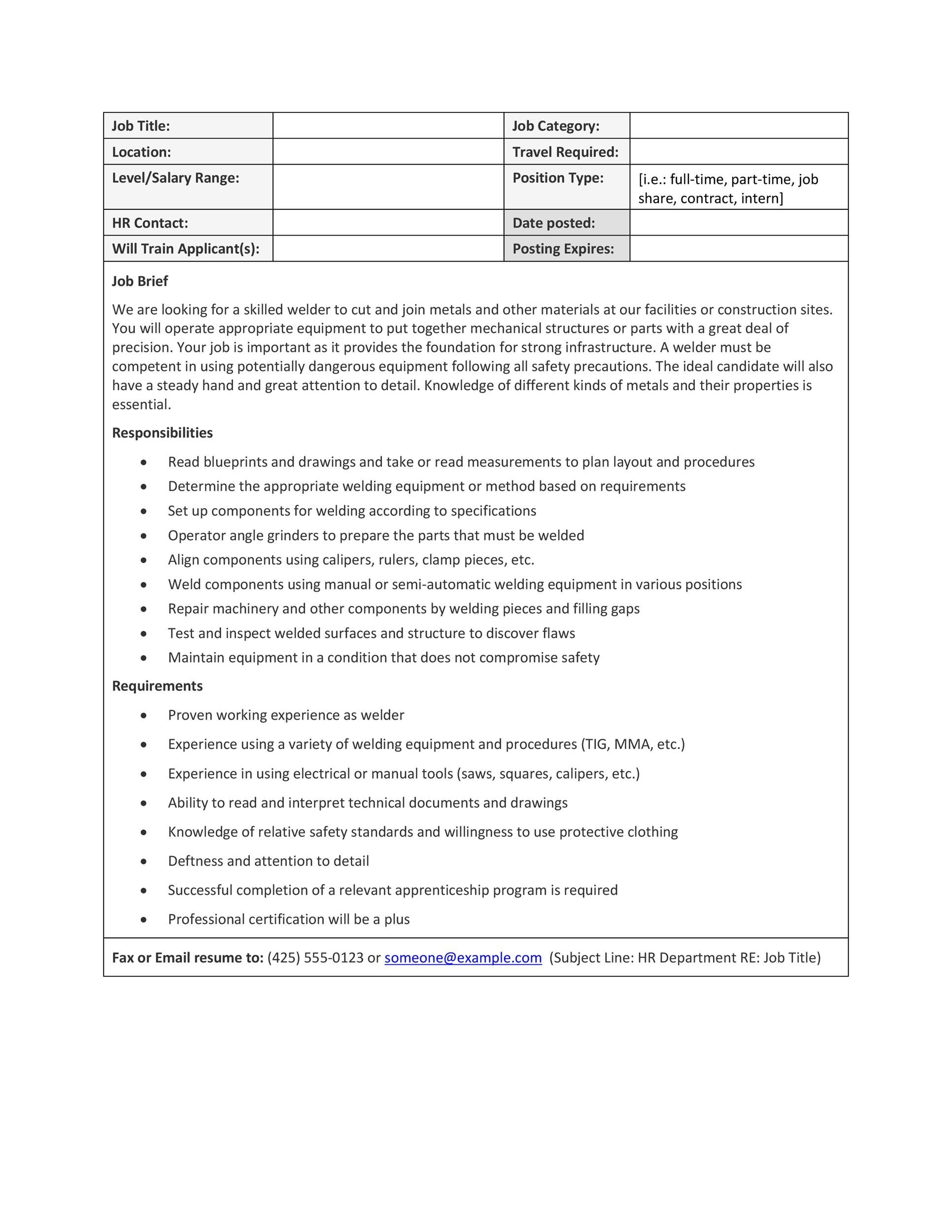 Free Job Description Template 23
