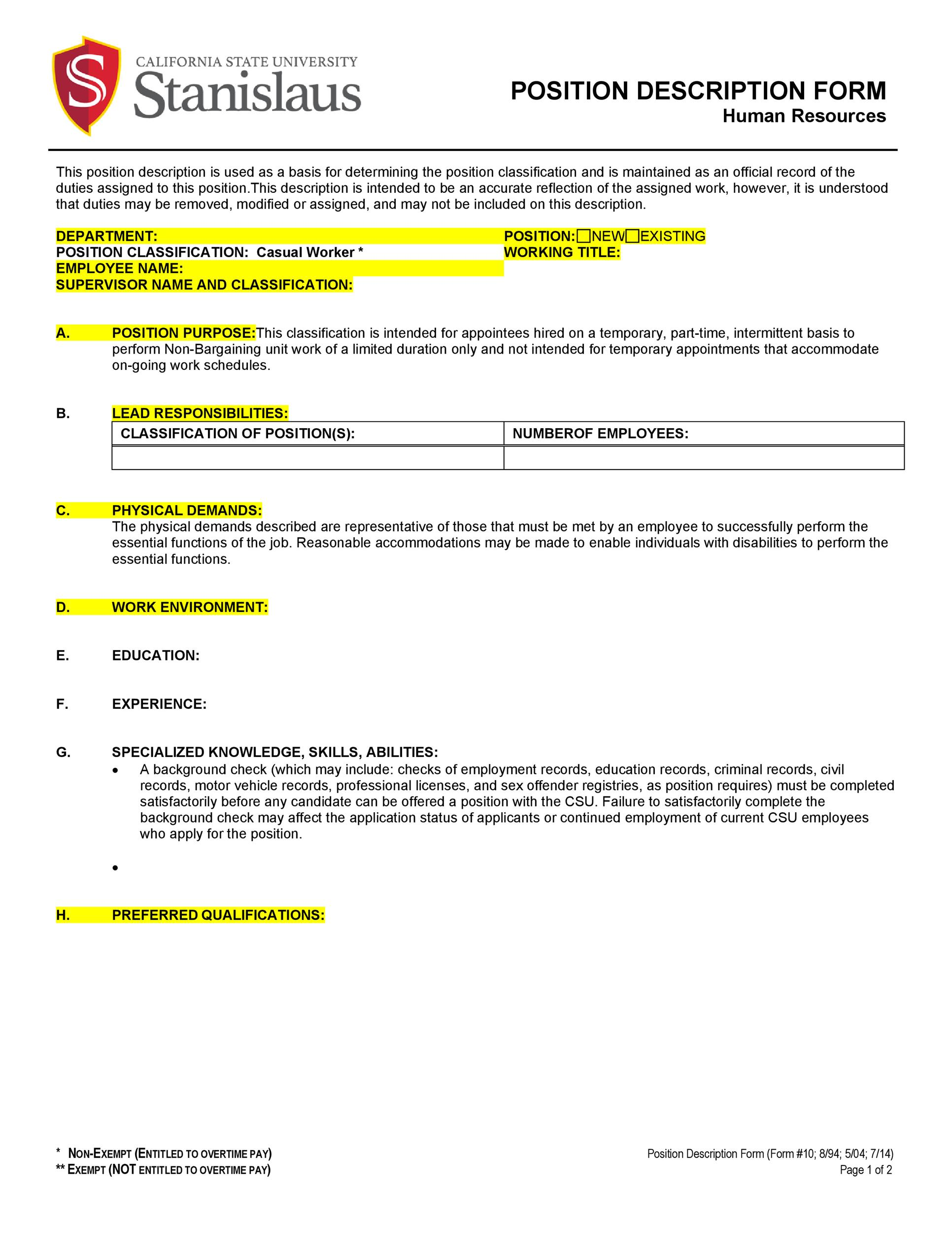 Job Description Template 29