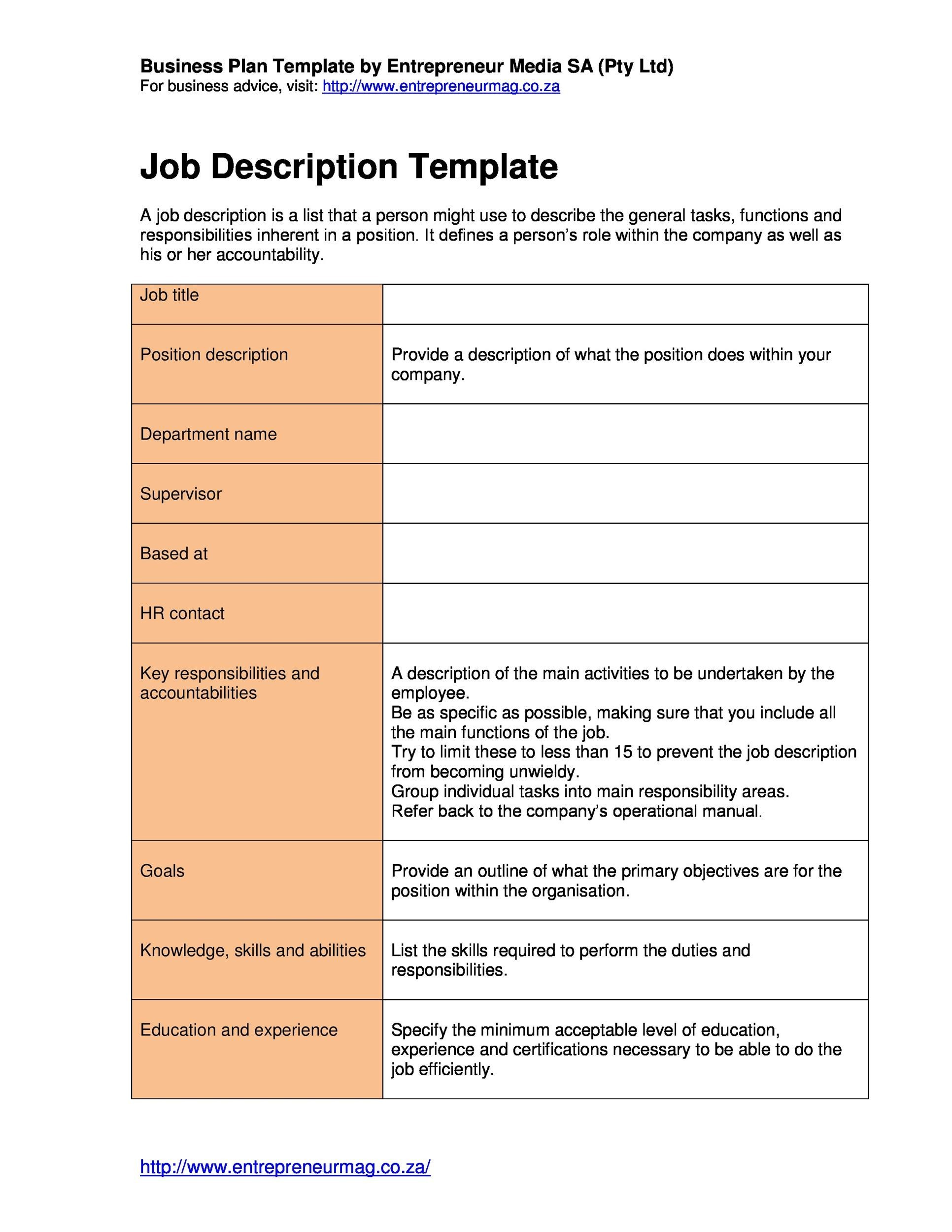 Free Job Description Template 32