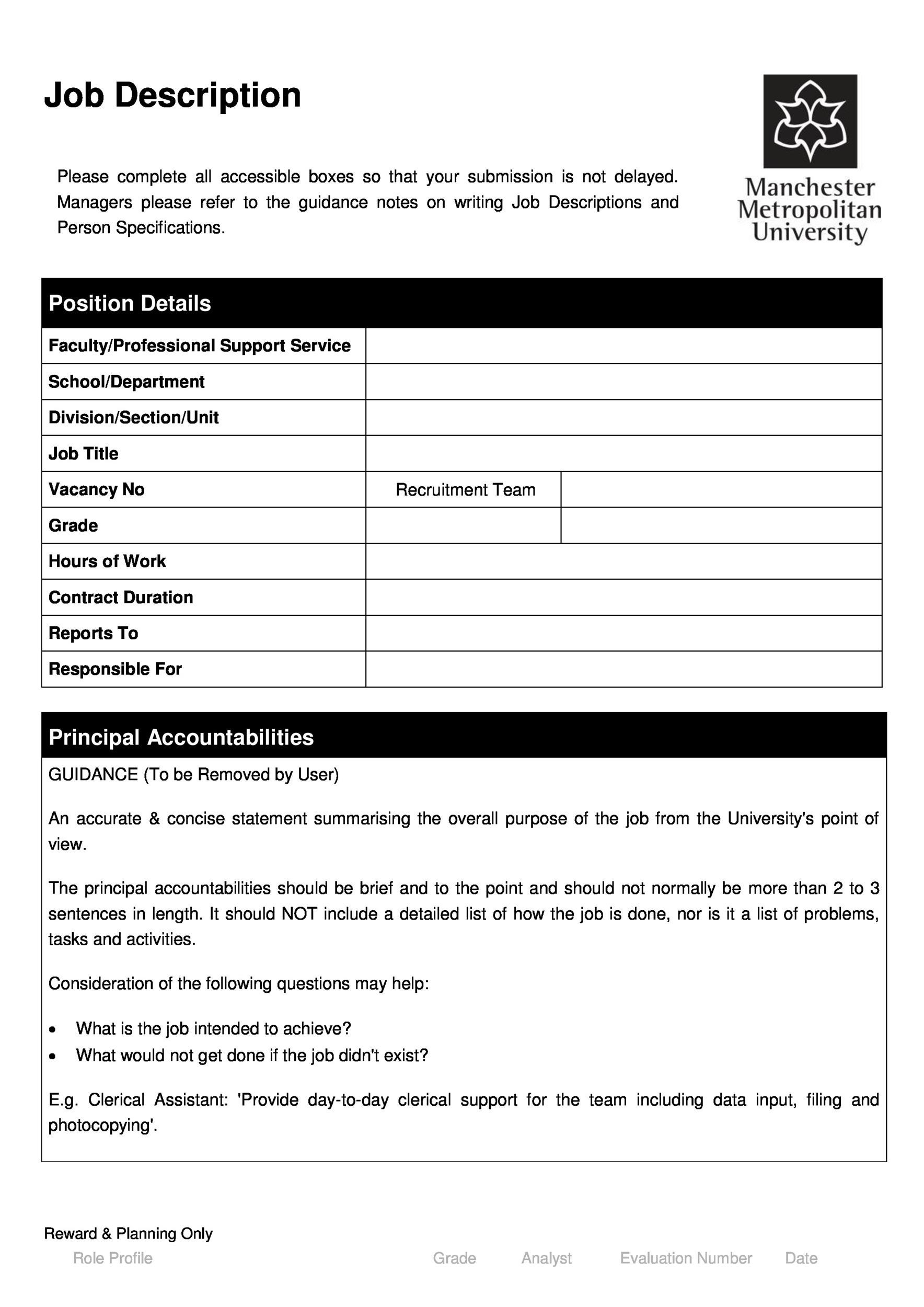 Printable Job Description Template 34  Clerical Job Description