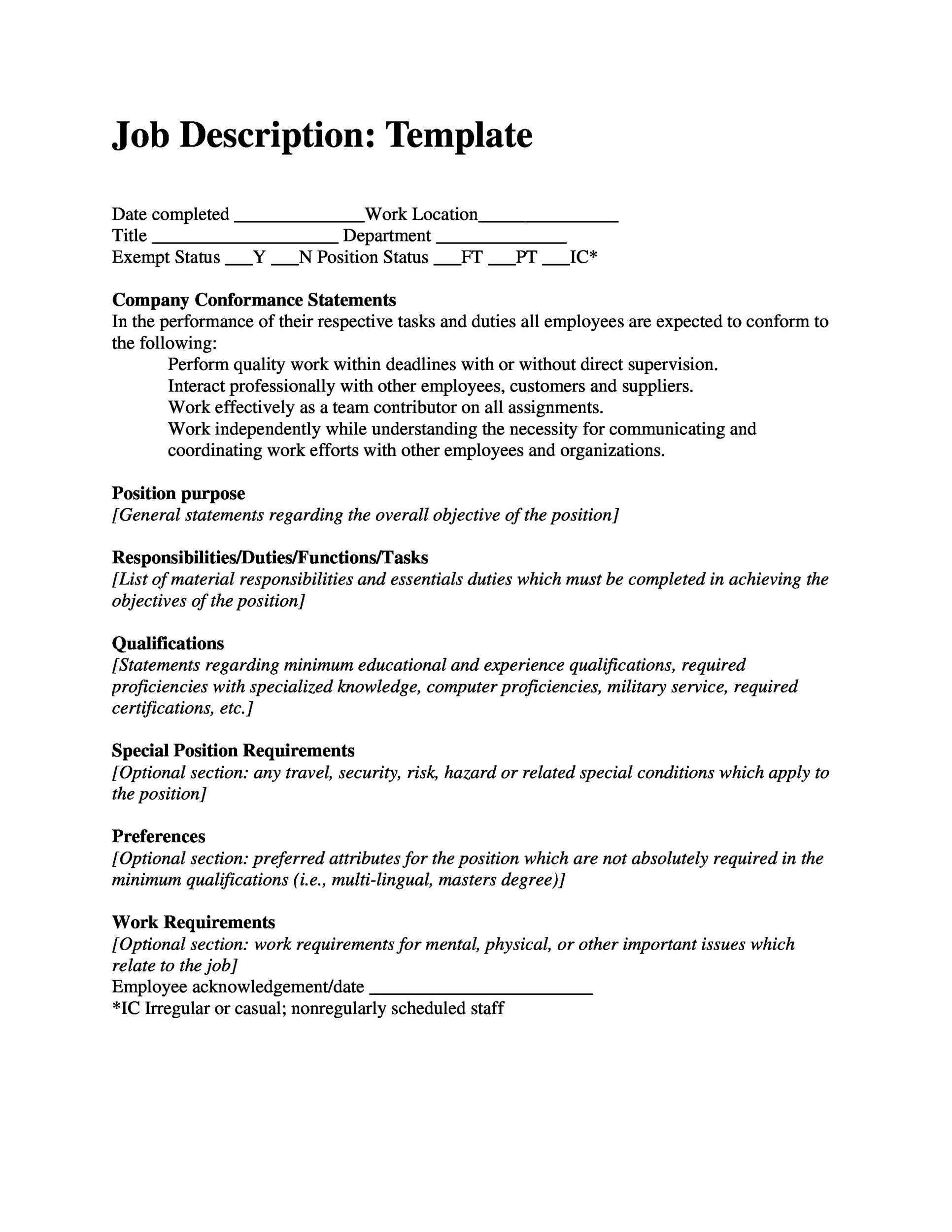 printable job description template 44