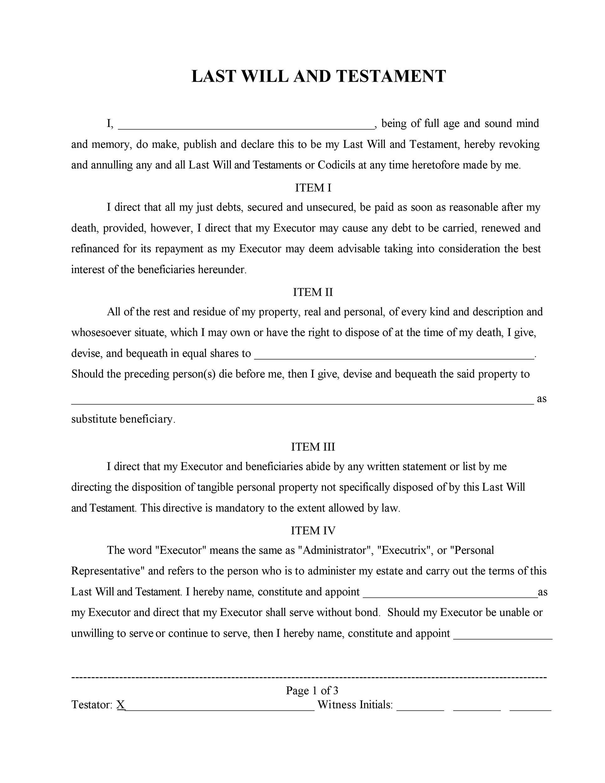 Last Will and Testament Form - Free Online Will Template