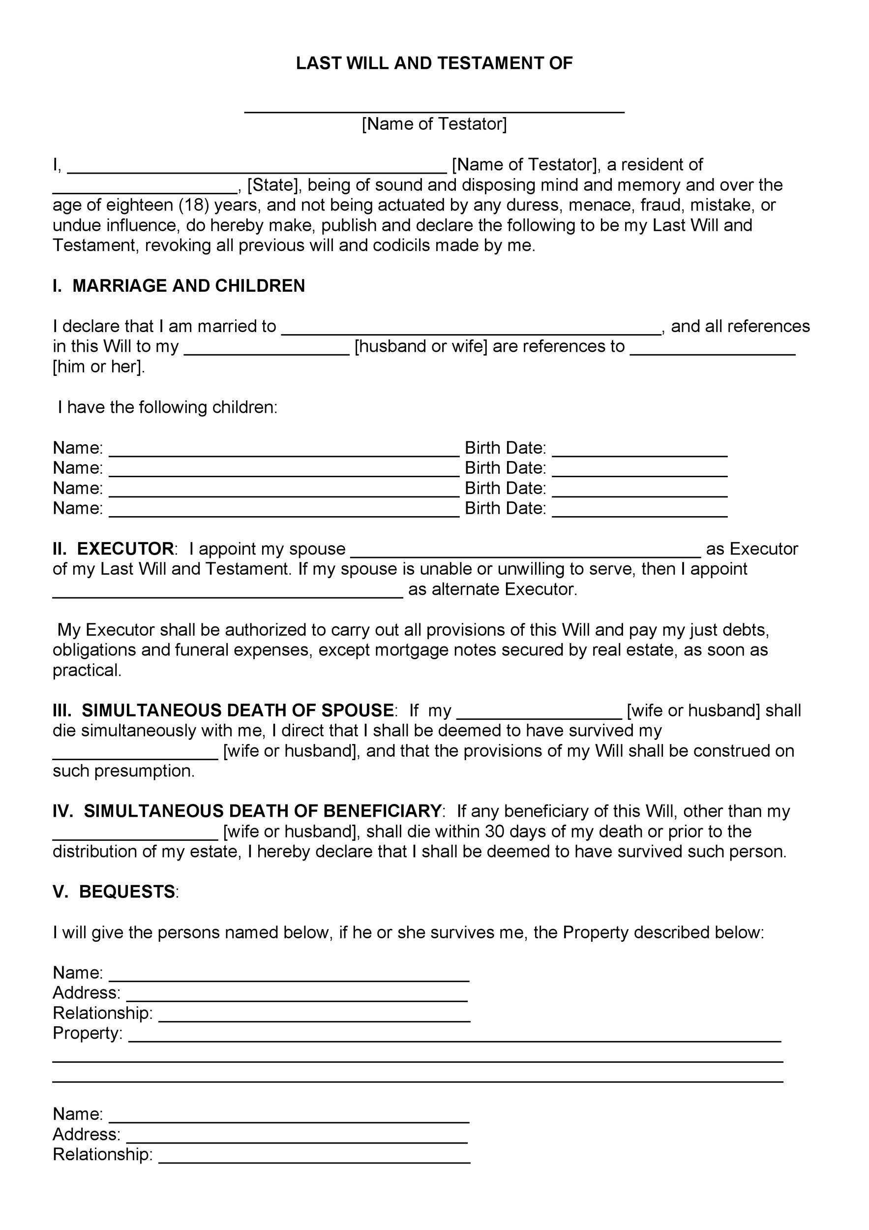 Last Will And Testament Forms Templates Template Lab - Make a will for free template