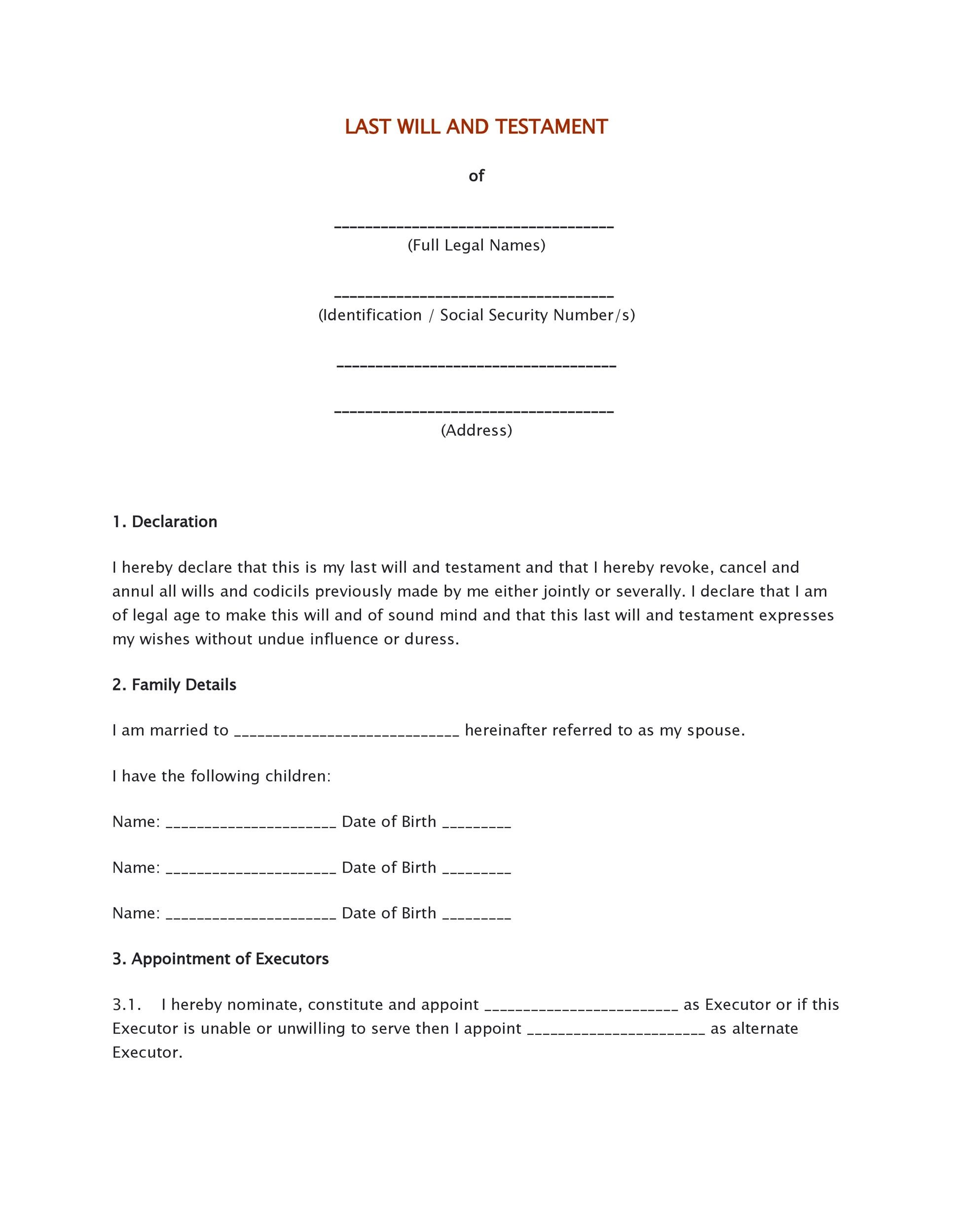 Free Last will and testament template 03