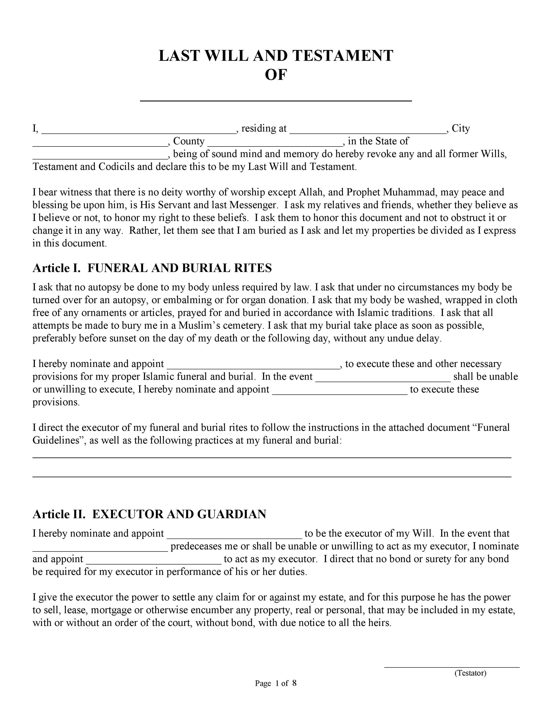 Last will and testament form pdf for Free printable living will template