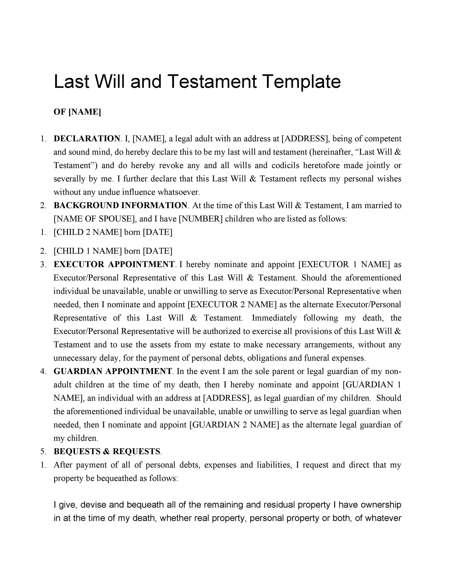 Free Last will and testament template 06