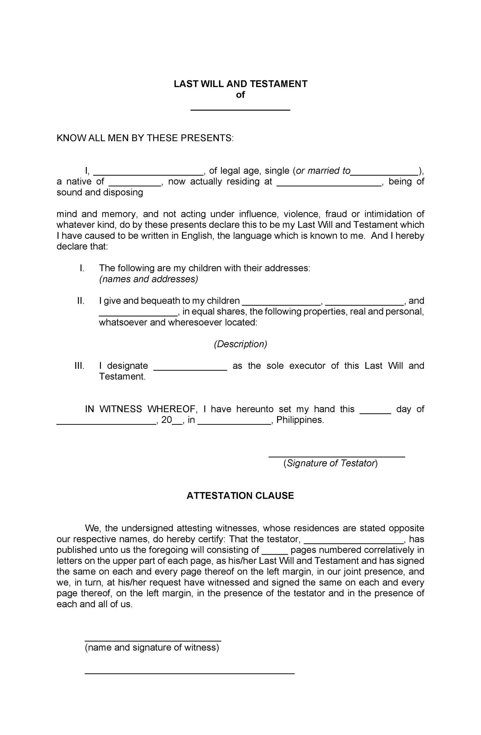 39 last will and testament forms templates template lab for Last will and testament free template maryland