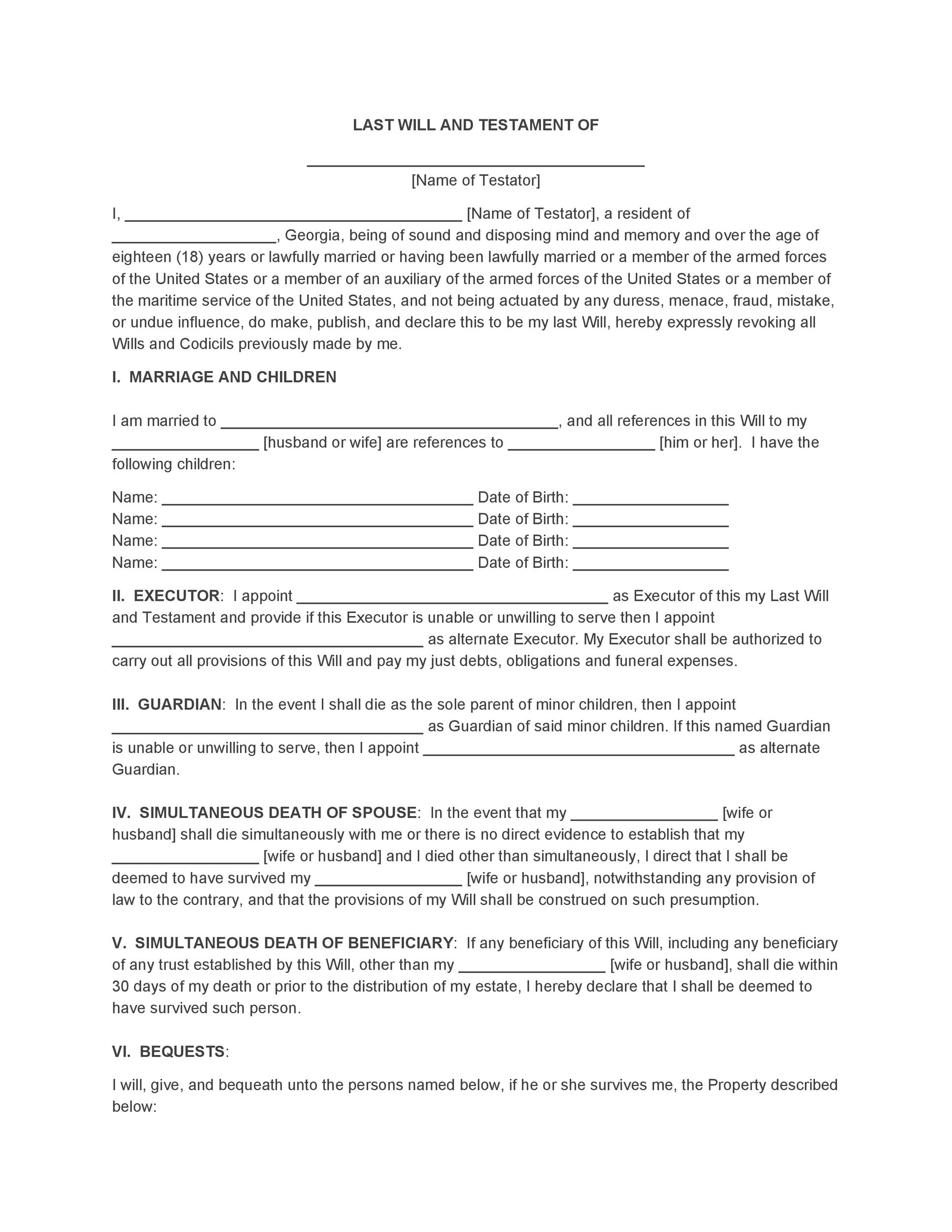 Free Last will and testament template 10