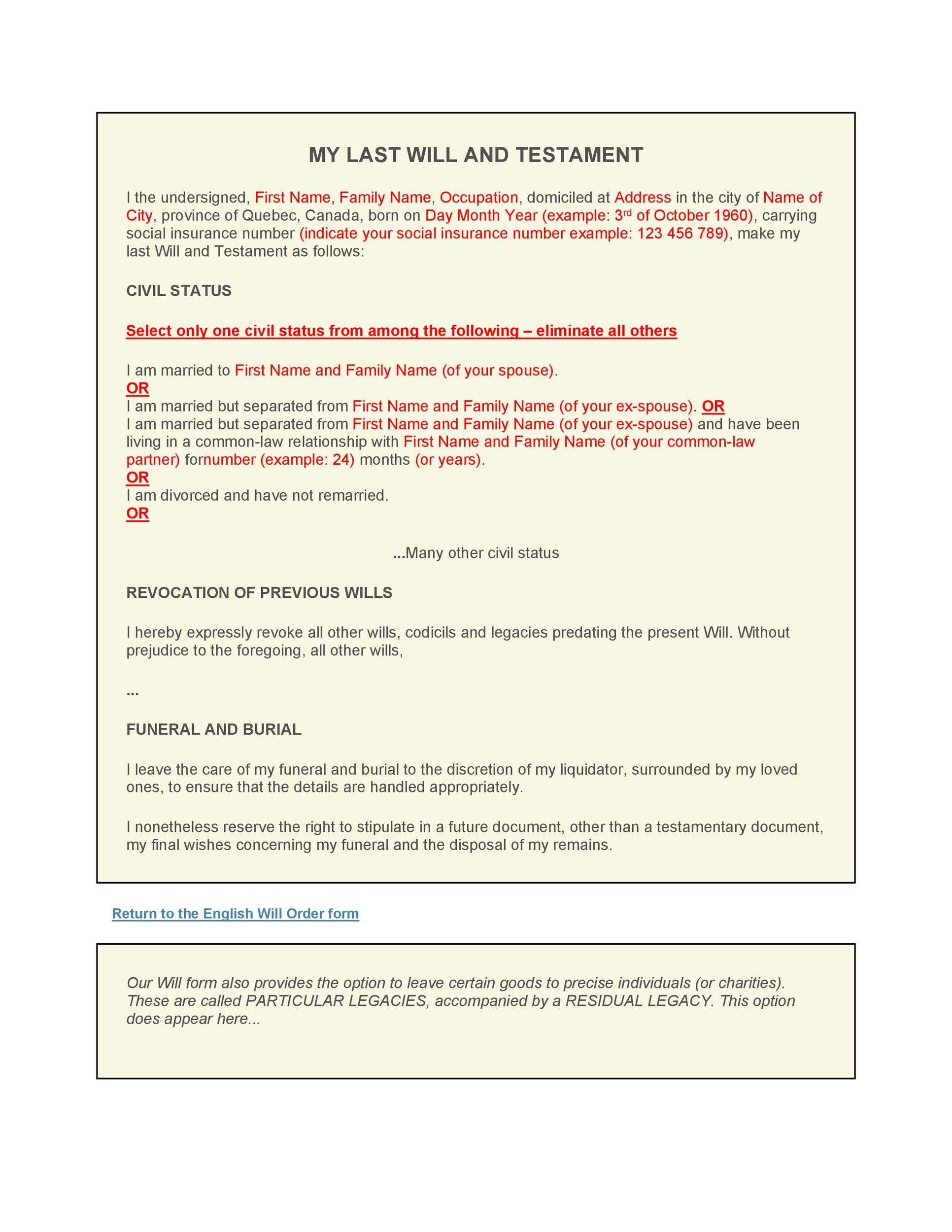 39 Last Will and Testament Forms Templates Template Lab – Example of Leave Form