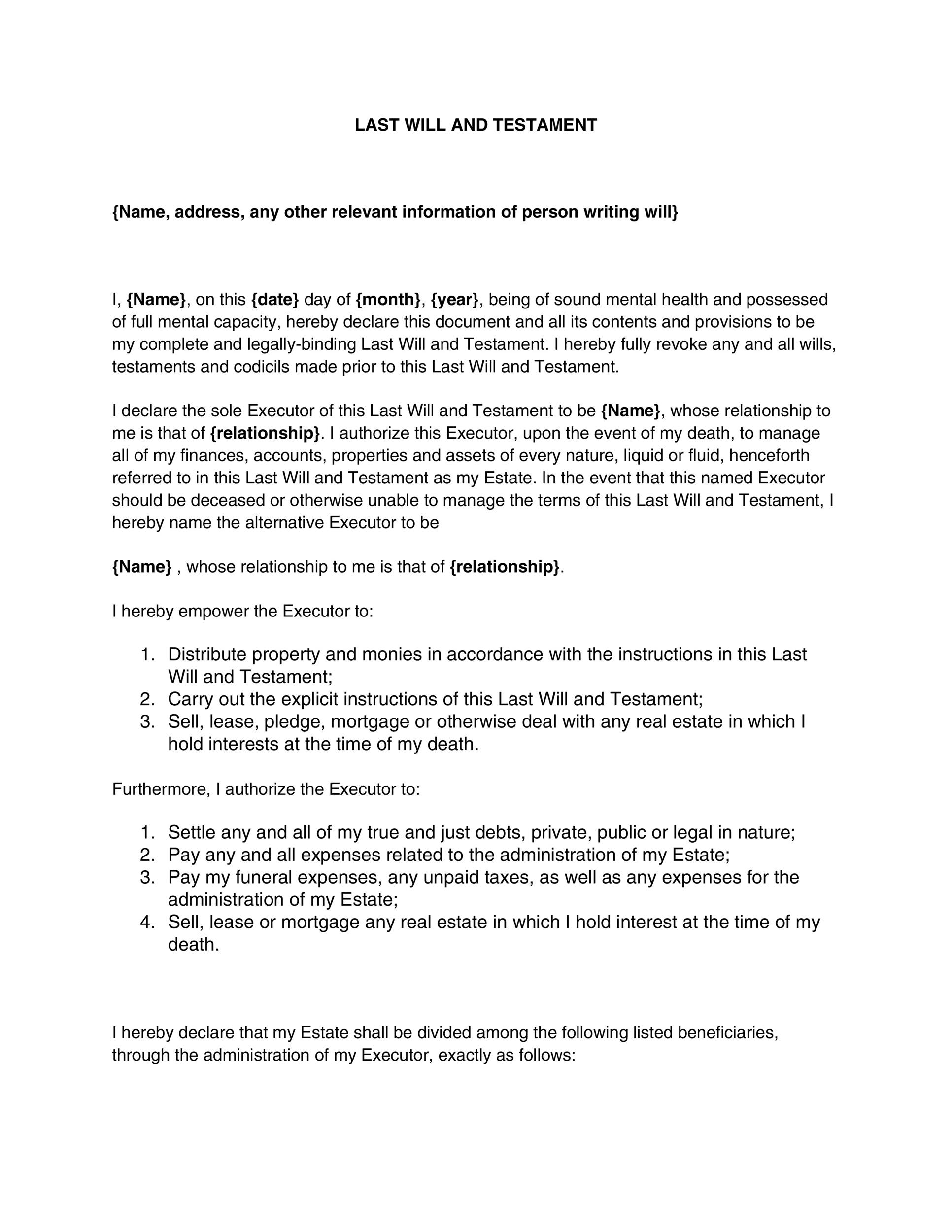 39 last will and testament forms templates template lab for Template for writing a will