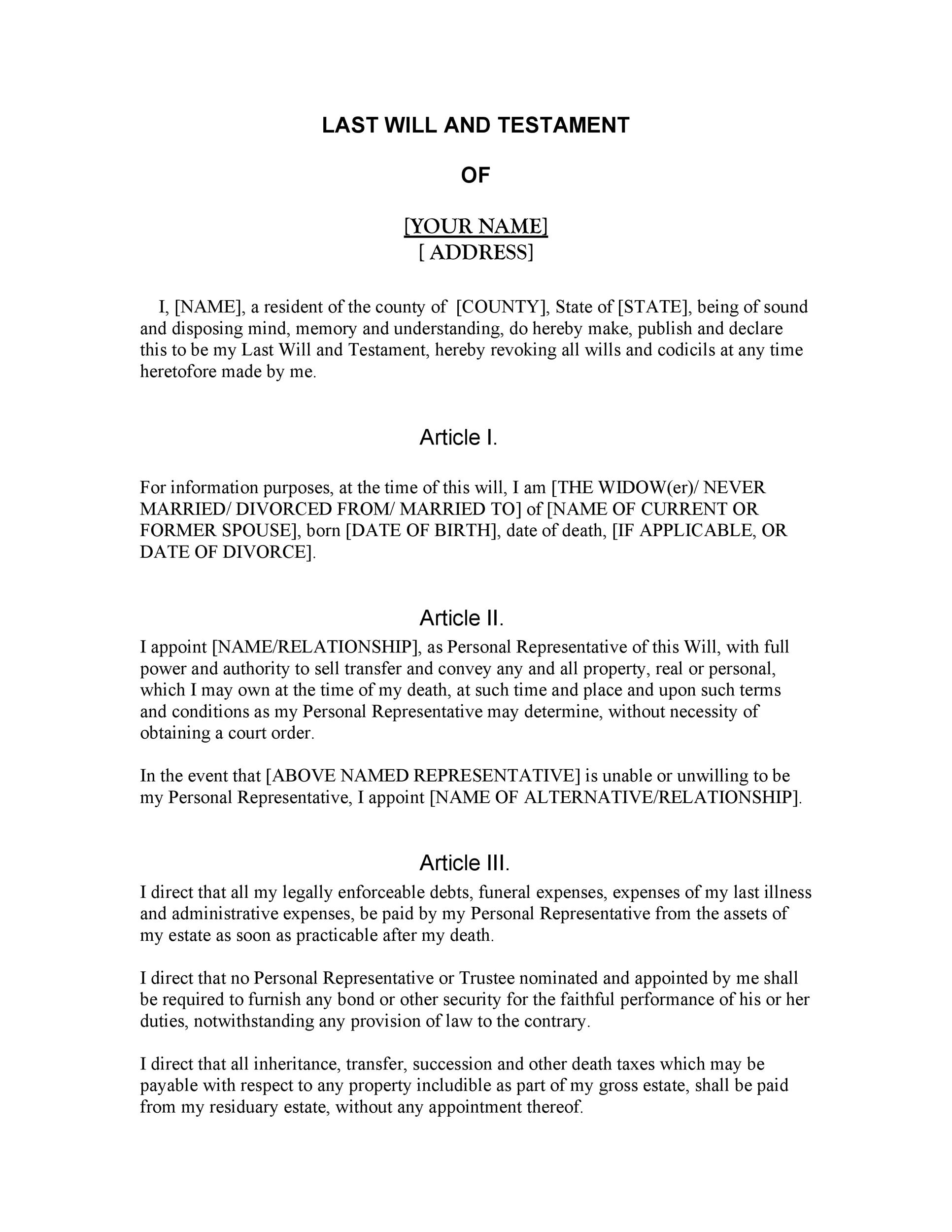 Free Last will and testament template 14