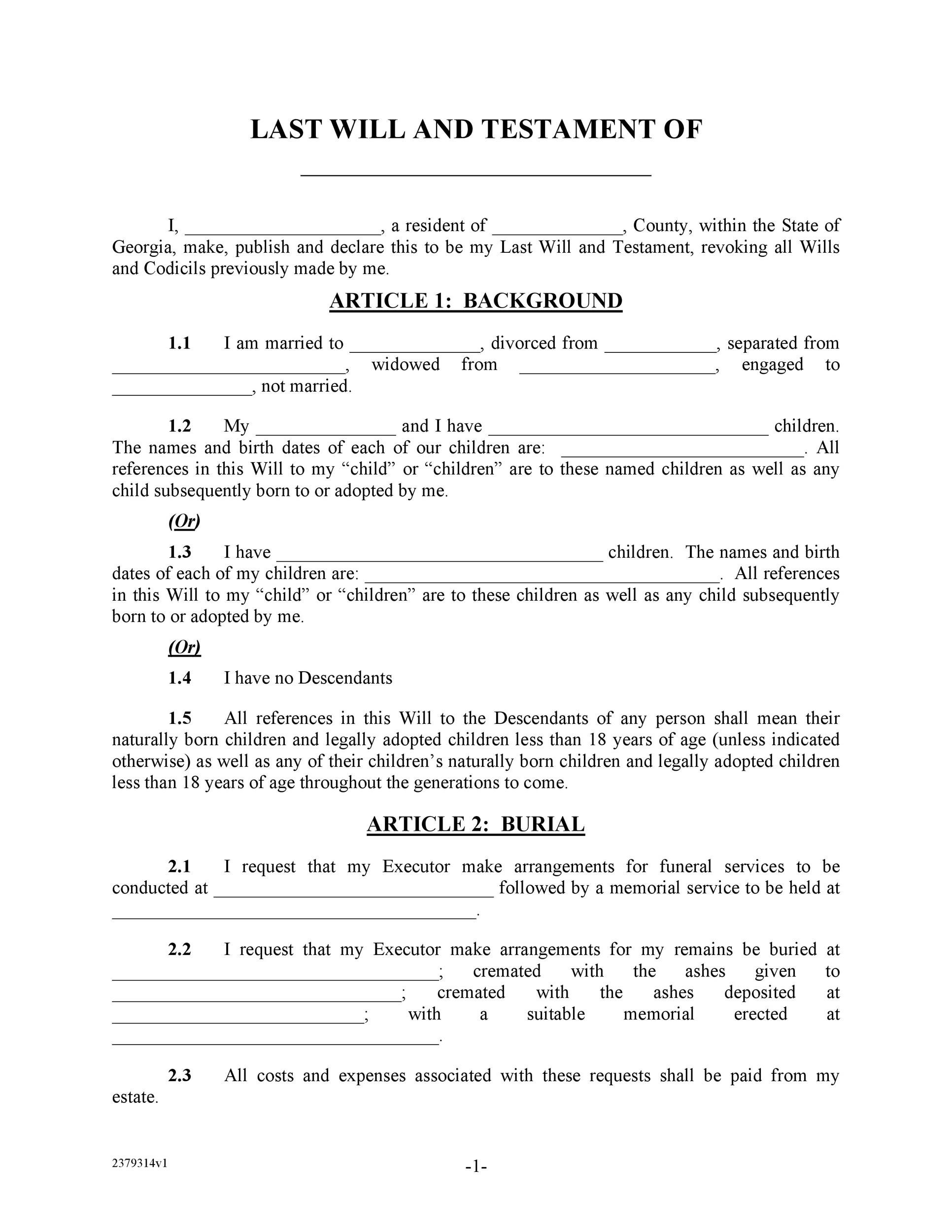 Free Last will and testament template 15