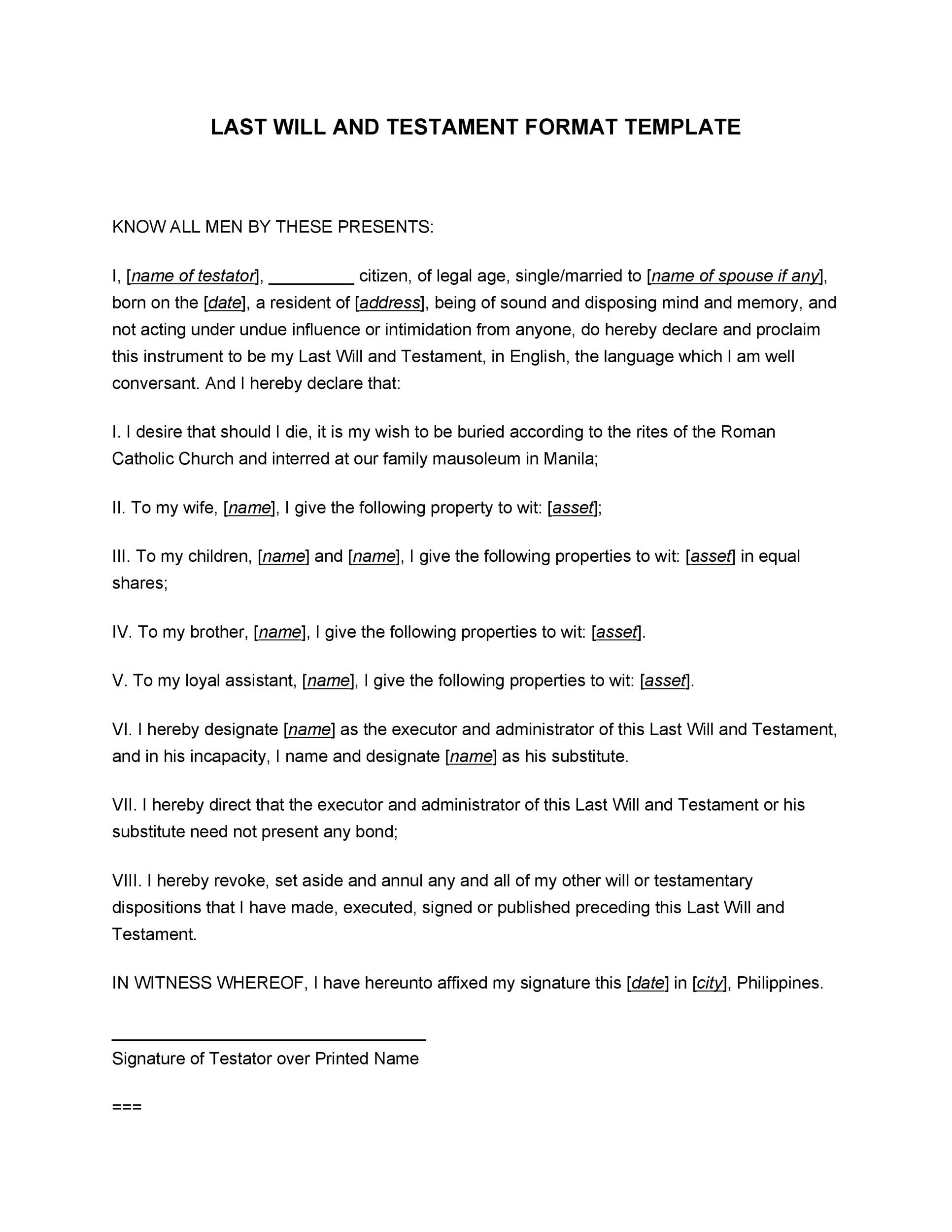 Free Last will and testament template 17