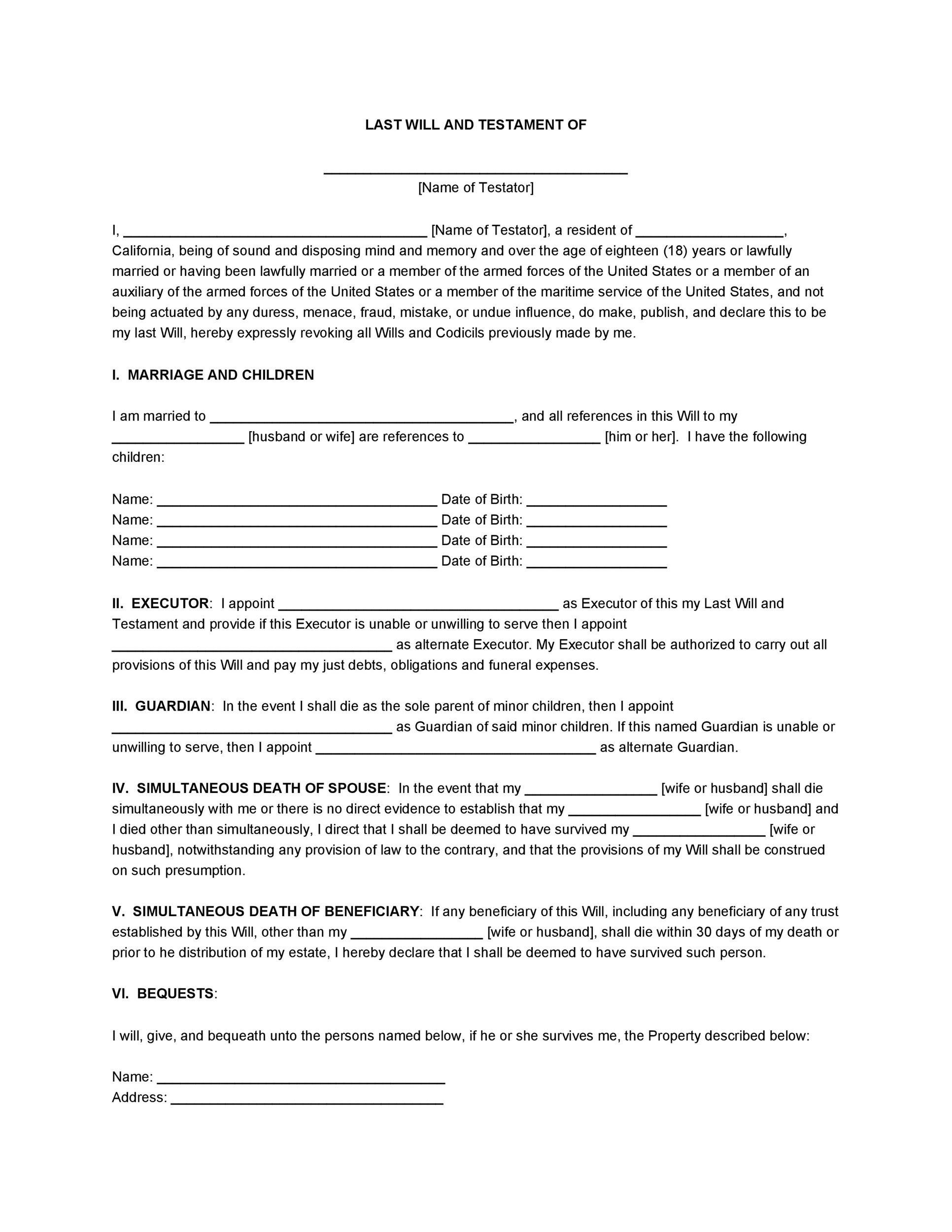 Last wills and testaments free templates 28 images 39 for Last will and testament free template maryland