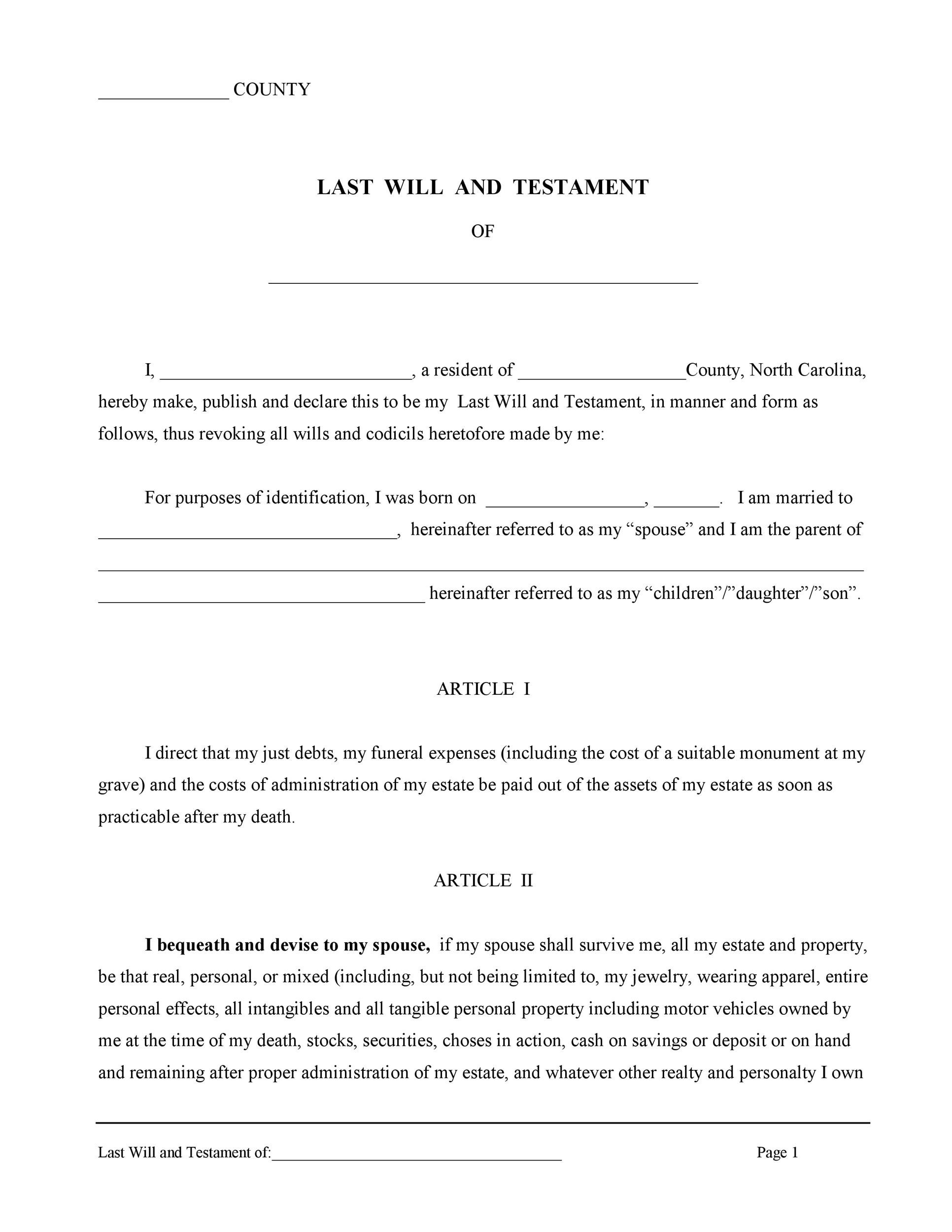 Free Last will and testament template 20