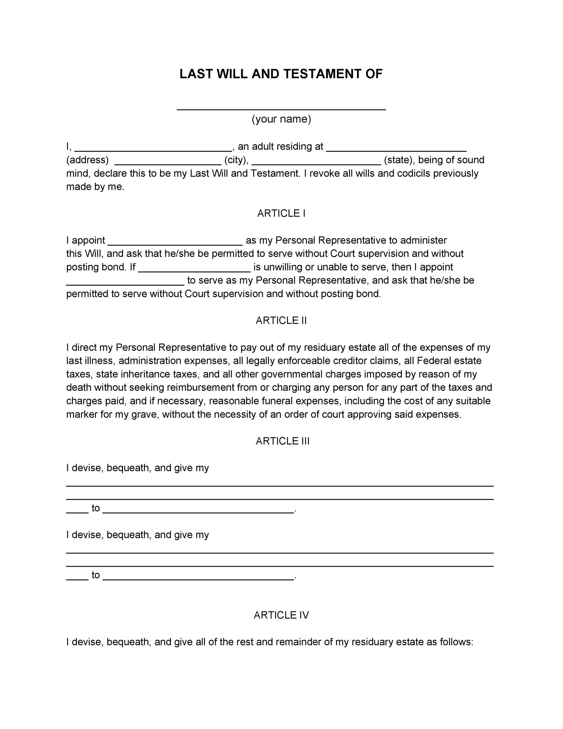 Free Last will and Testament template 22