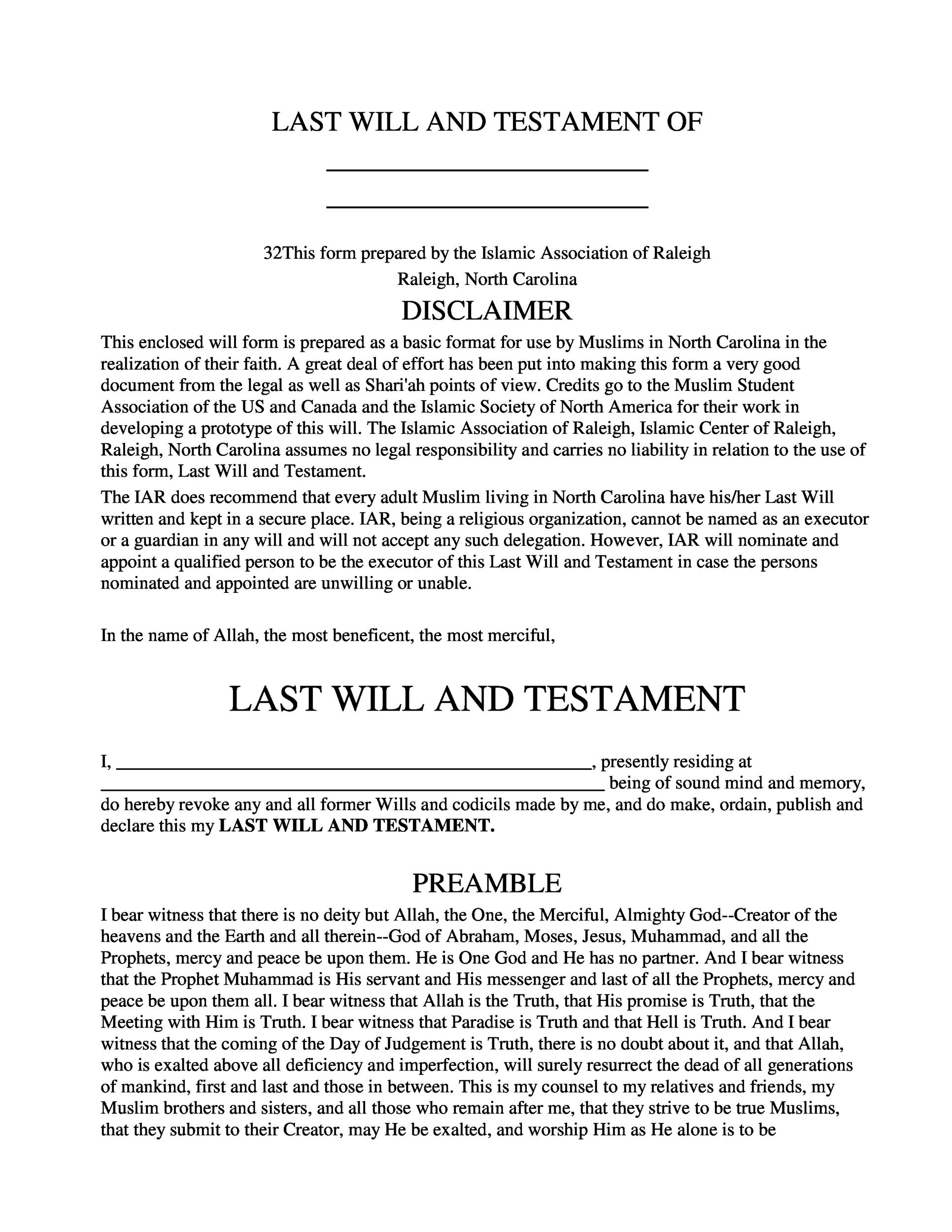 Free Last will and Testament template 23