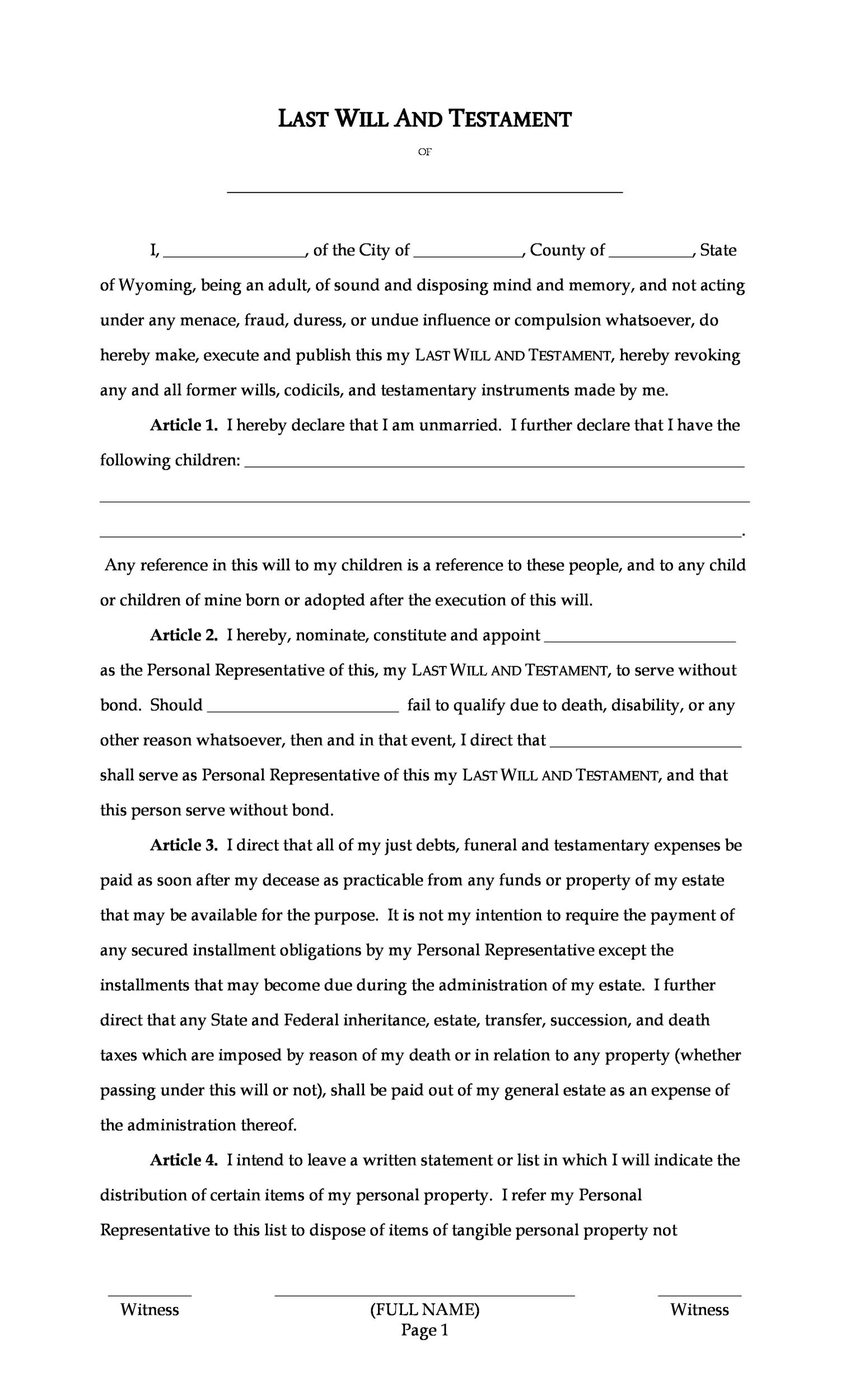 39 Last Will And Testament Forms Templates Á… Templatelab