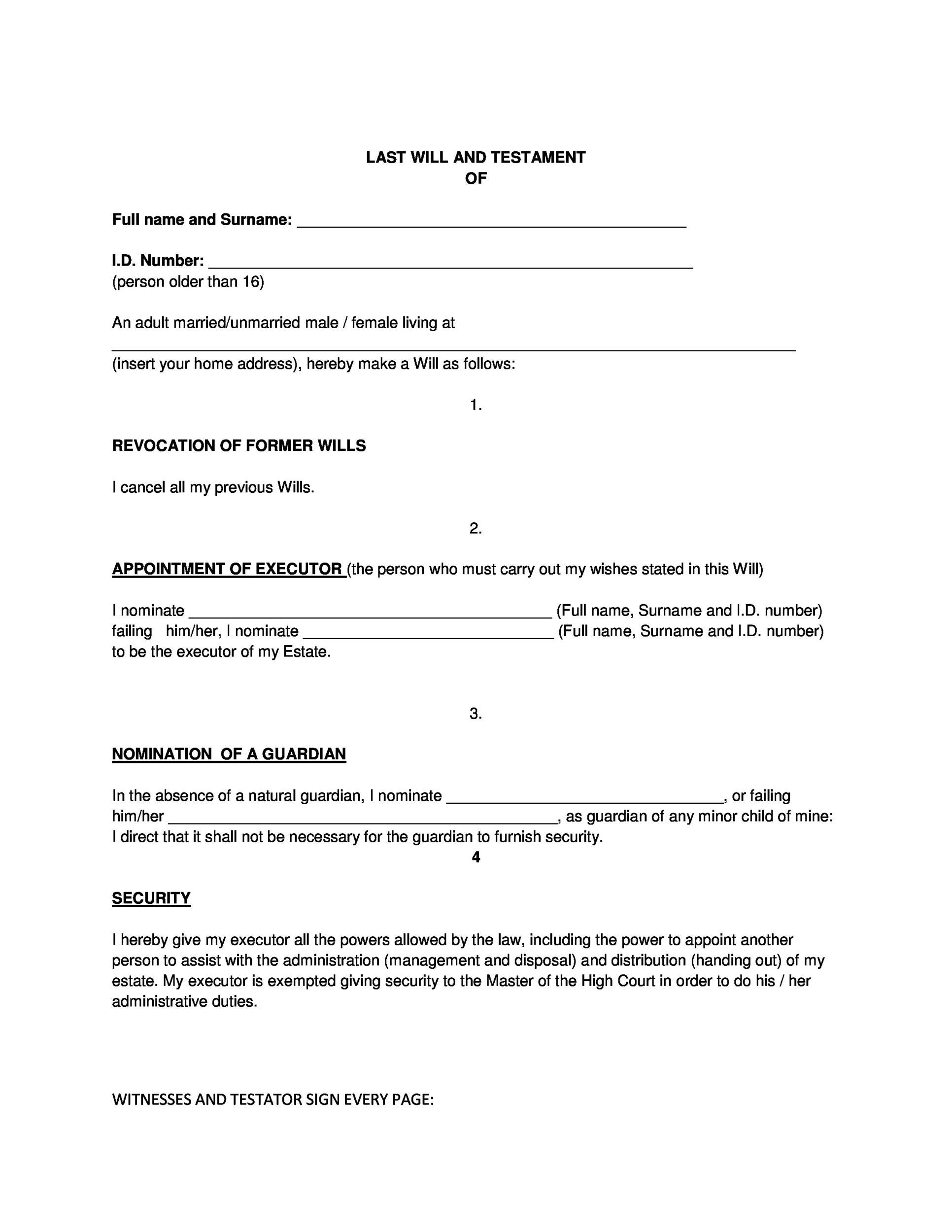Free Last will and Testament template 34